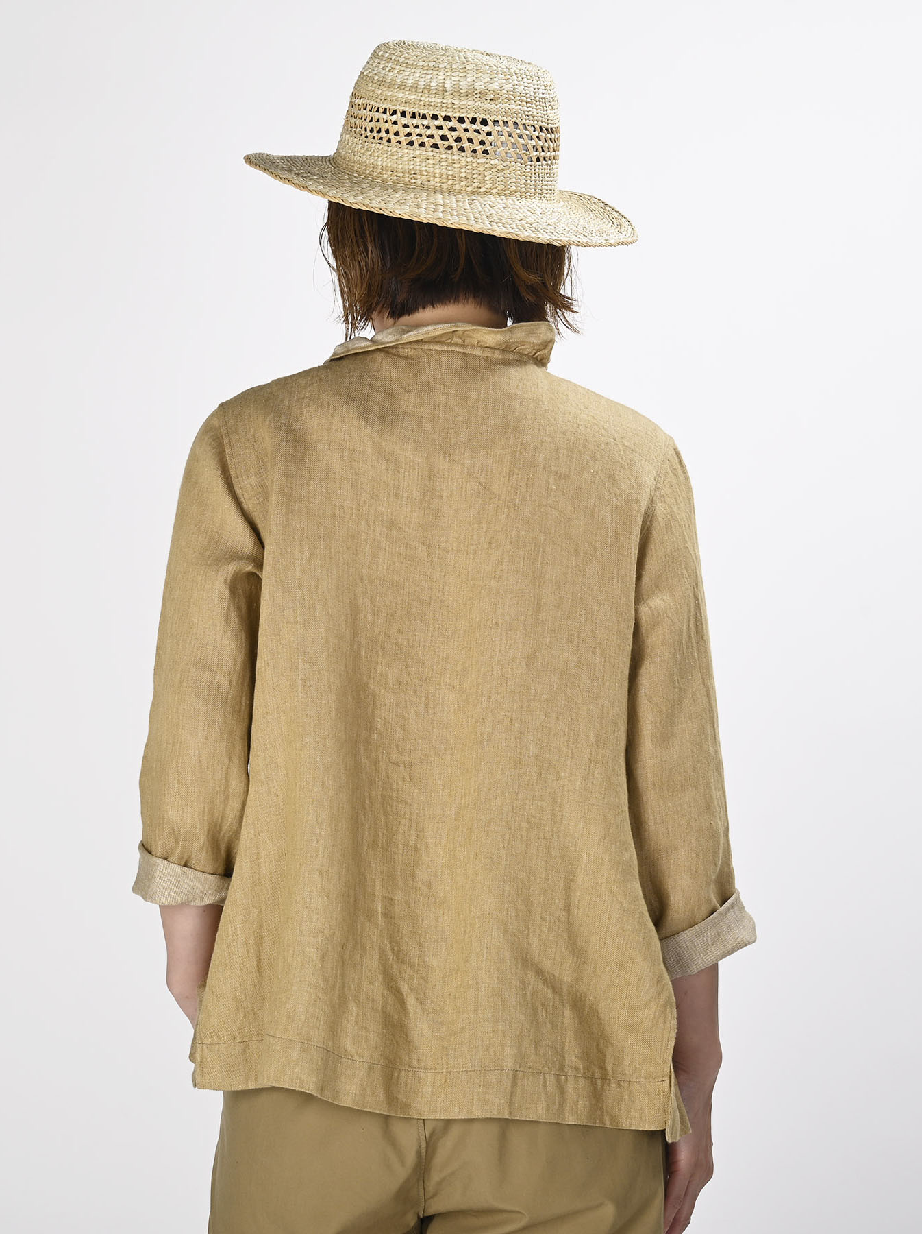 Indian Linen Twill Cache-coeur Blouse (0621)-6