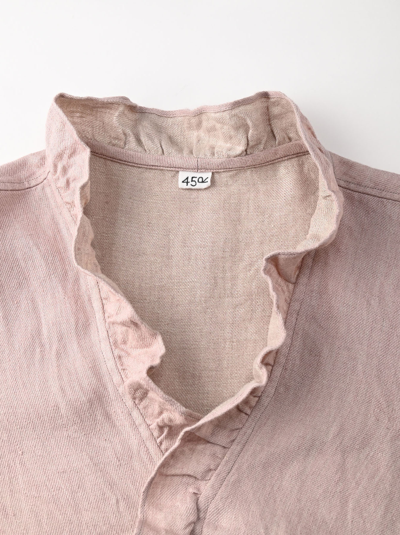 Indian Linen Twill Cache-coeur Blouse (0621)-8
