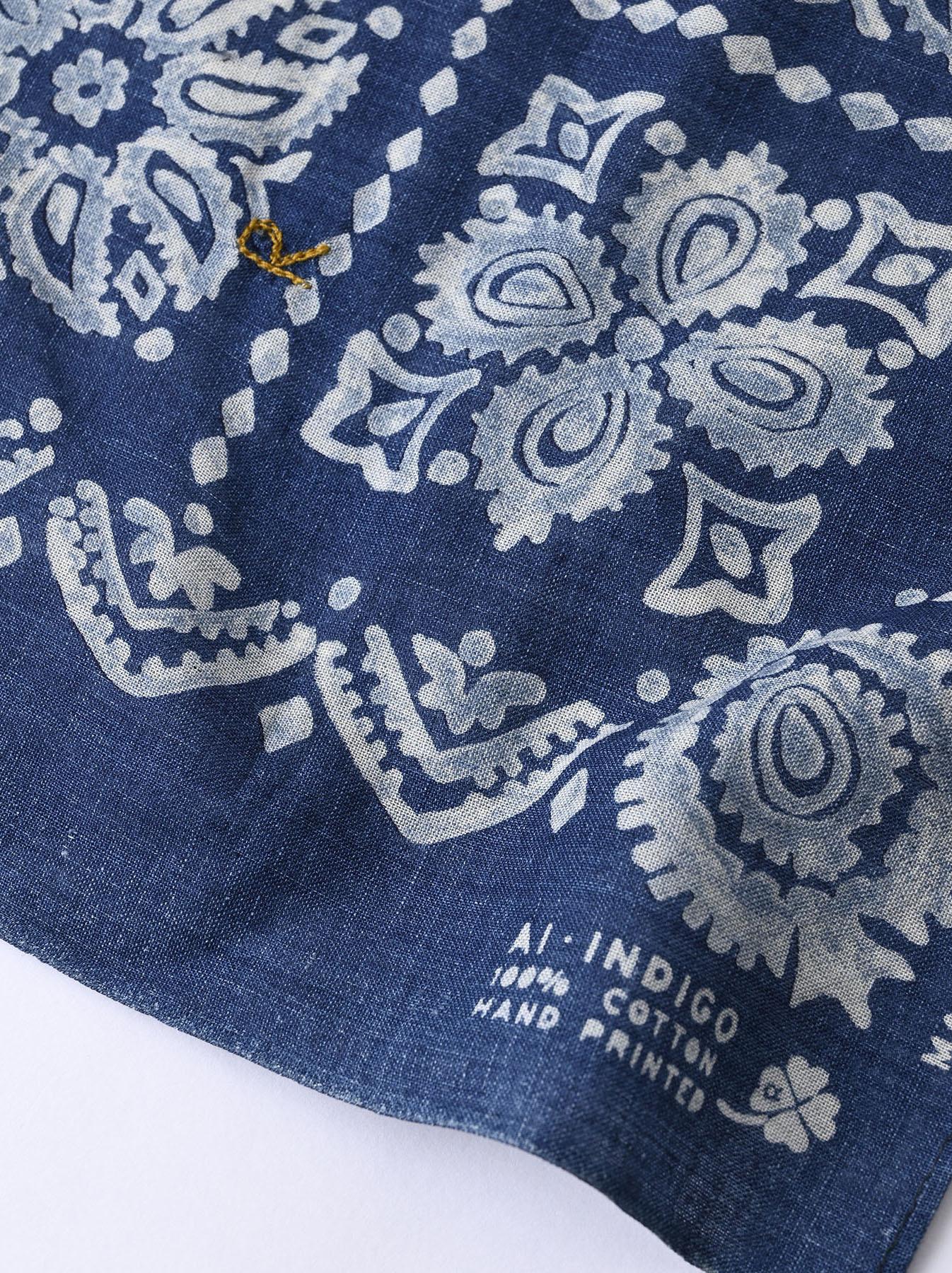 Indigo Selvedge Flower Paisley Bandana (0621)-6