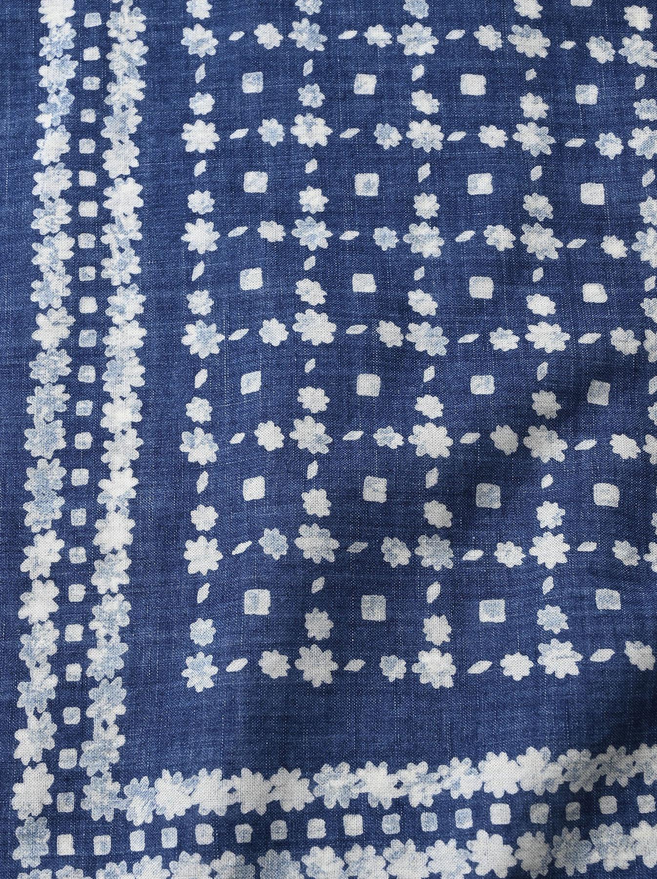 Indigo Selvedge Flower Check Bandana (0621)-7