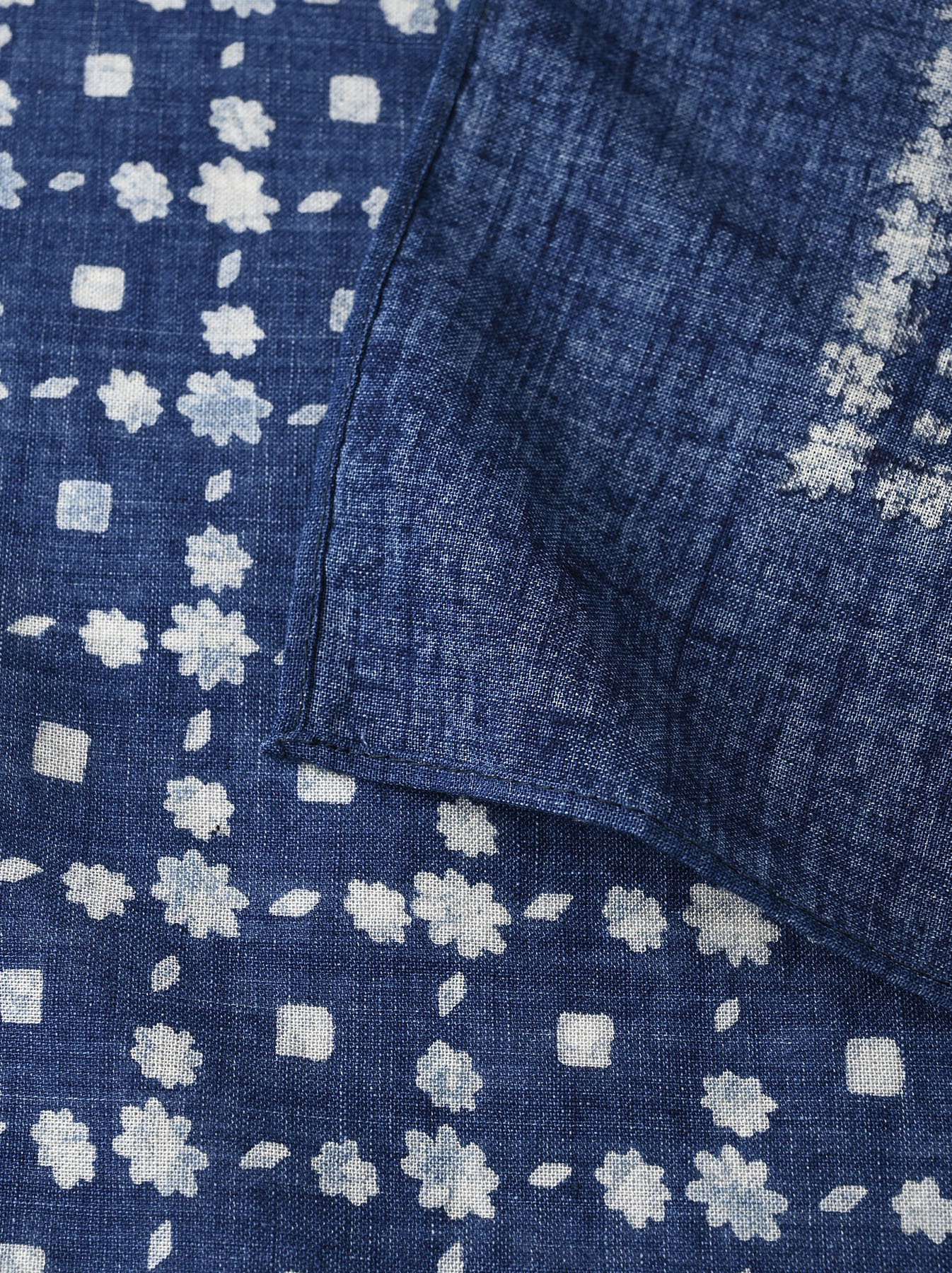 Indigo Selvedge Flower Check Bandana (0621)-8