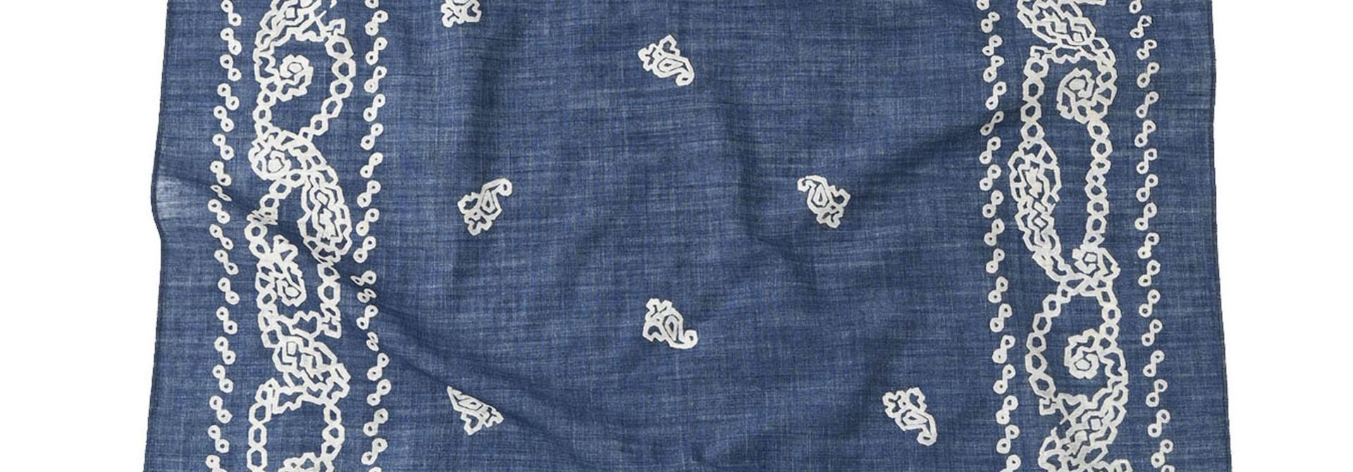 Indigo Selvedge Honeycomb Paisley Bandana (0621)