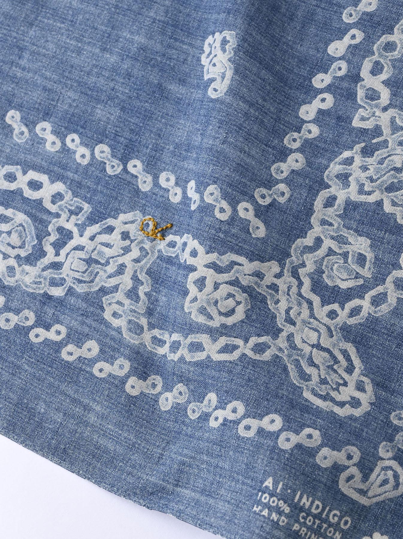 Indigo Selvedge Honeycomb Paisley Bandana (0621)-6