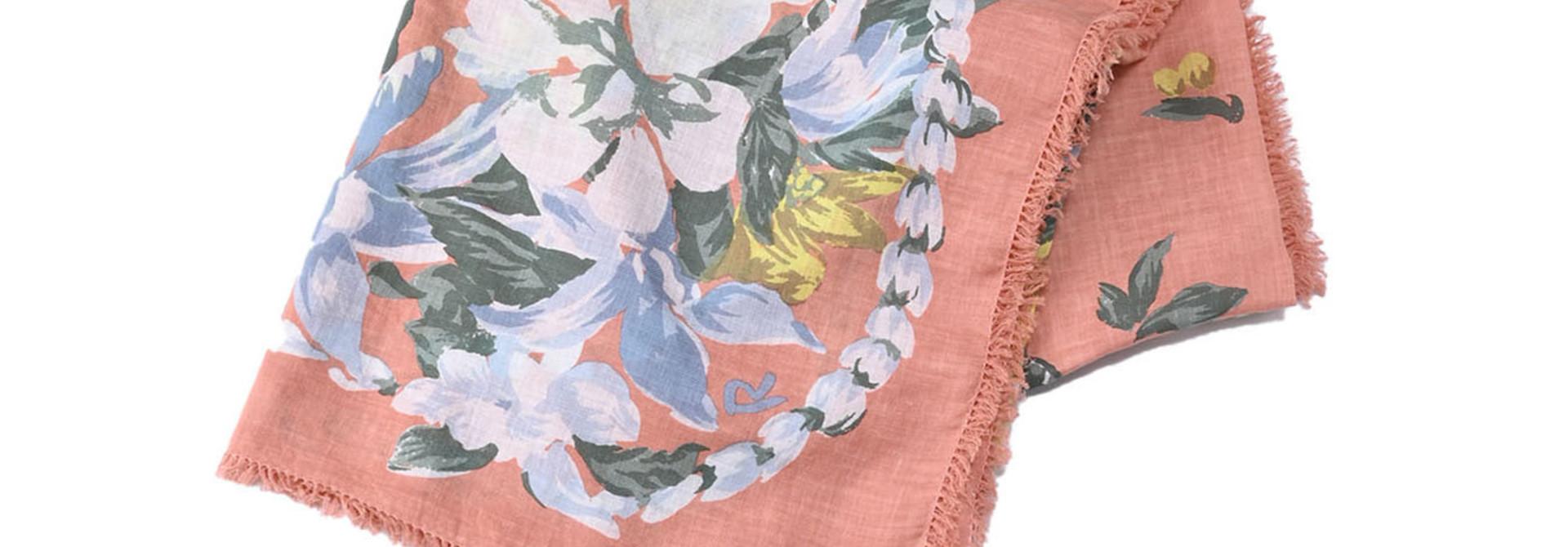 Organic Supima Cotton Aloha Flower Wreath Furoshikii 2 (0621)