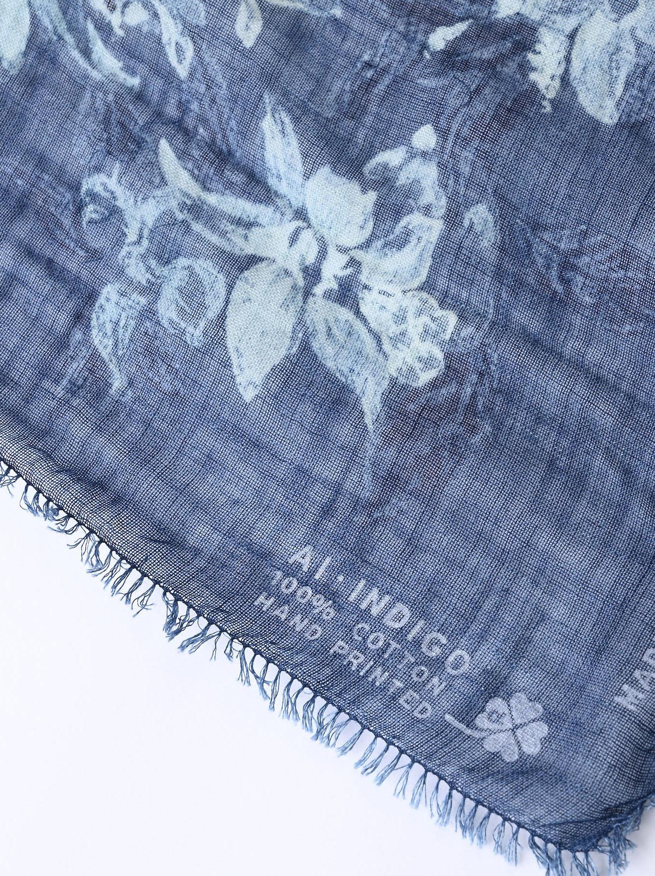 Indigo Gauze Flower Wreath Furoshikii (0621)-7