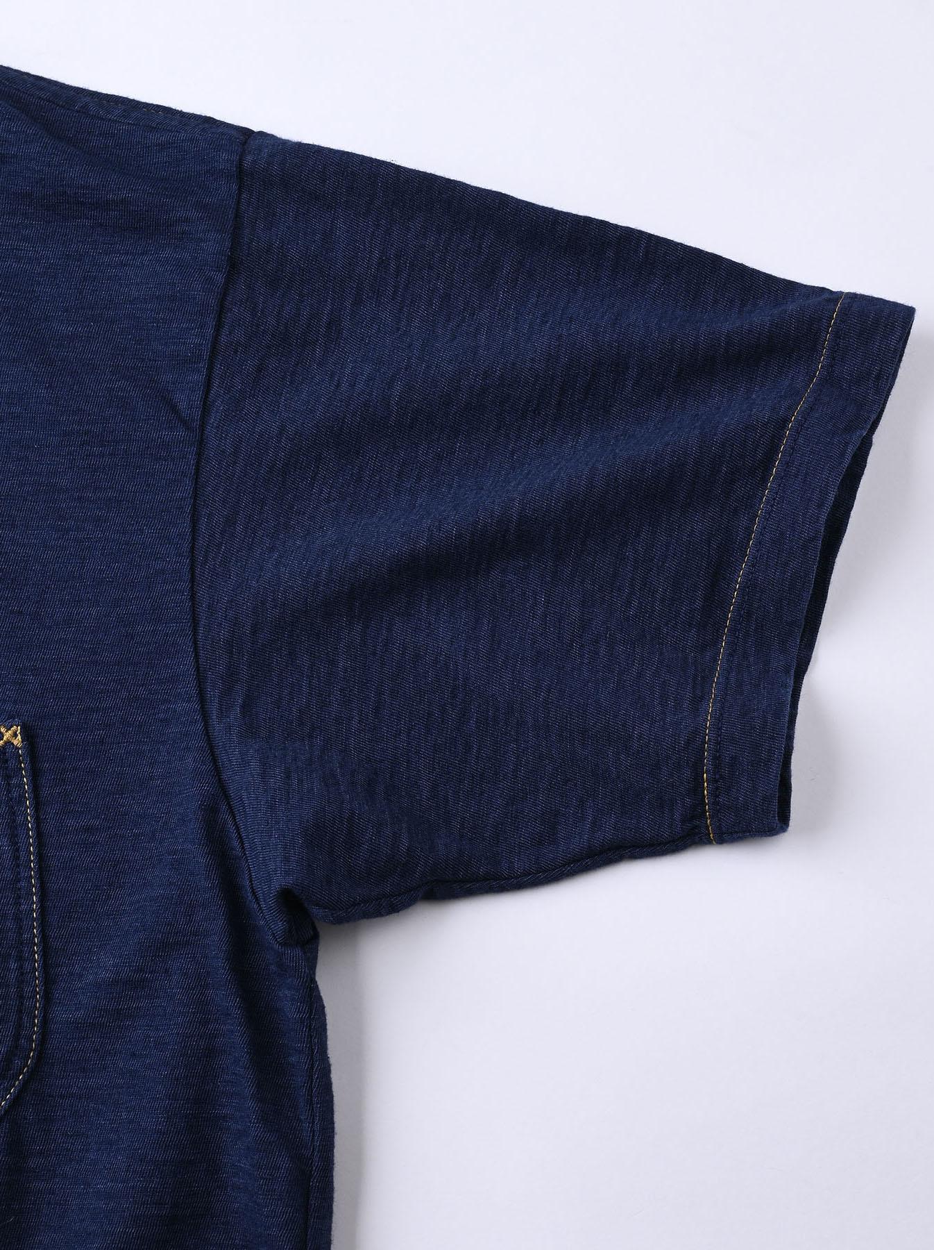 Indigo Smile R Embroidery 908 Ocean T-shirt (0621)-10