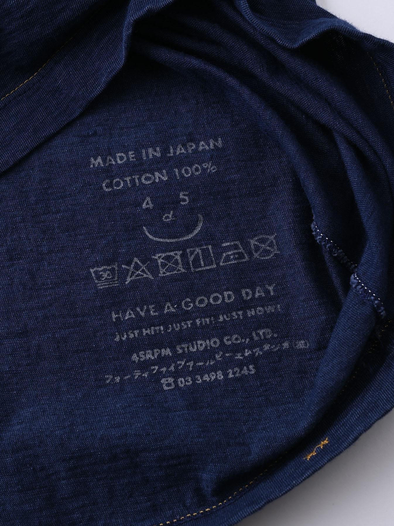 Indigo Smile R Embroidery 908 Ocean T-shirt (0621)-12