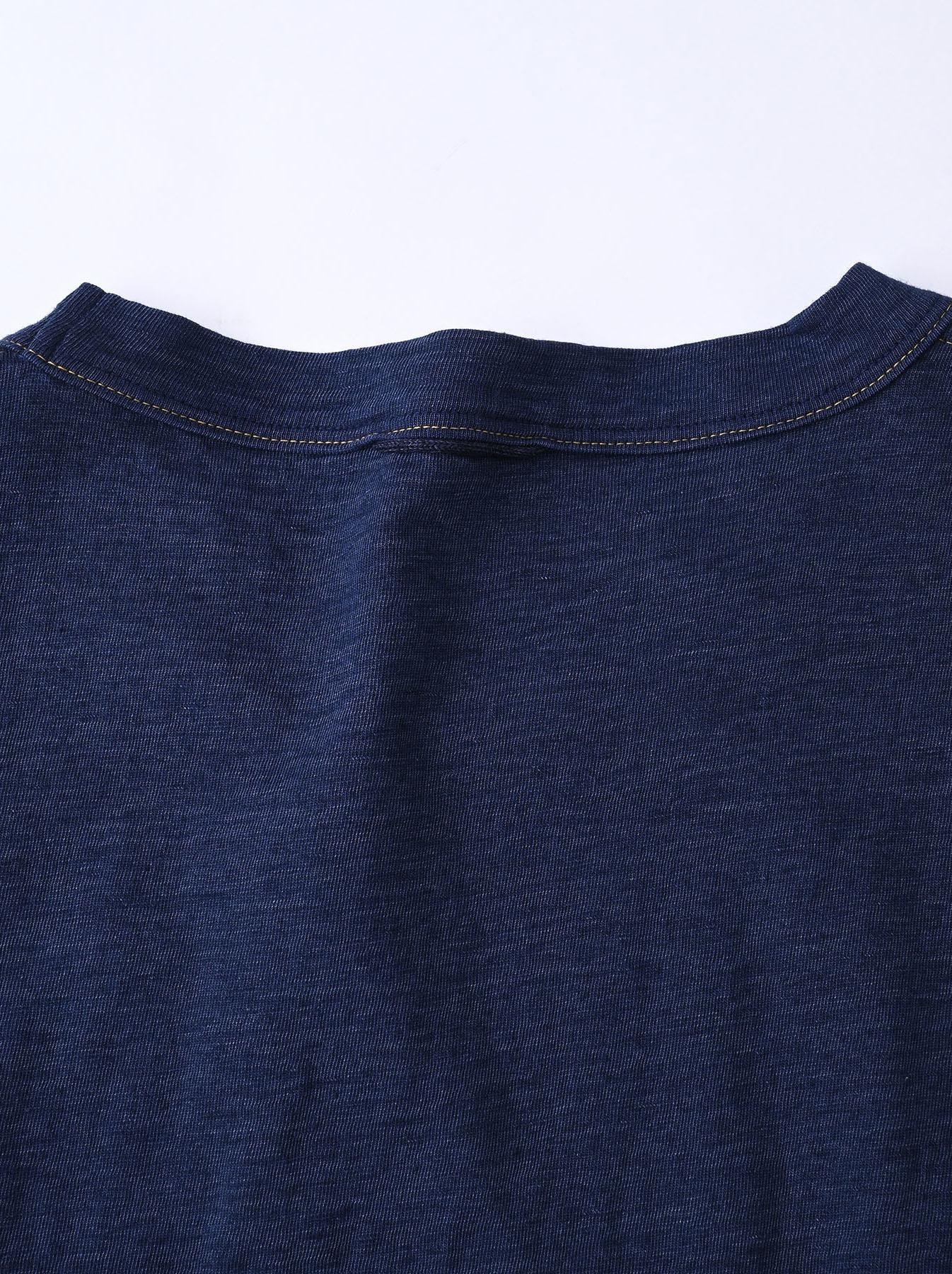 Indigo Smile R Embroidery 908 Ocean T-shirt (0621)-9