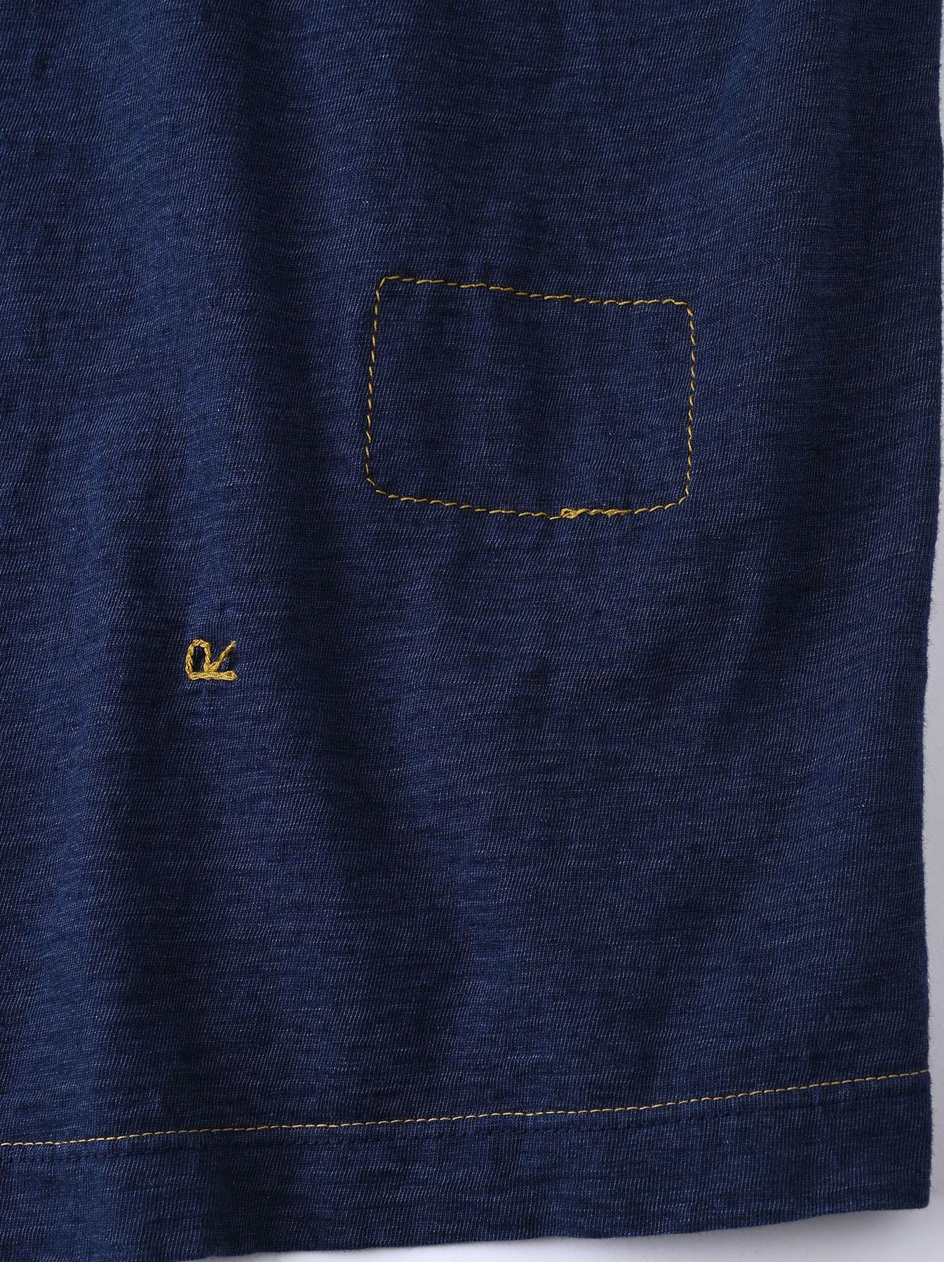 Indigo Smile R Embroidery 908 Ocean T-shirt (0621)-11