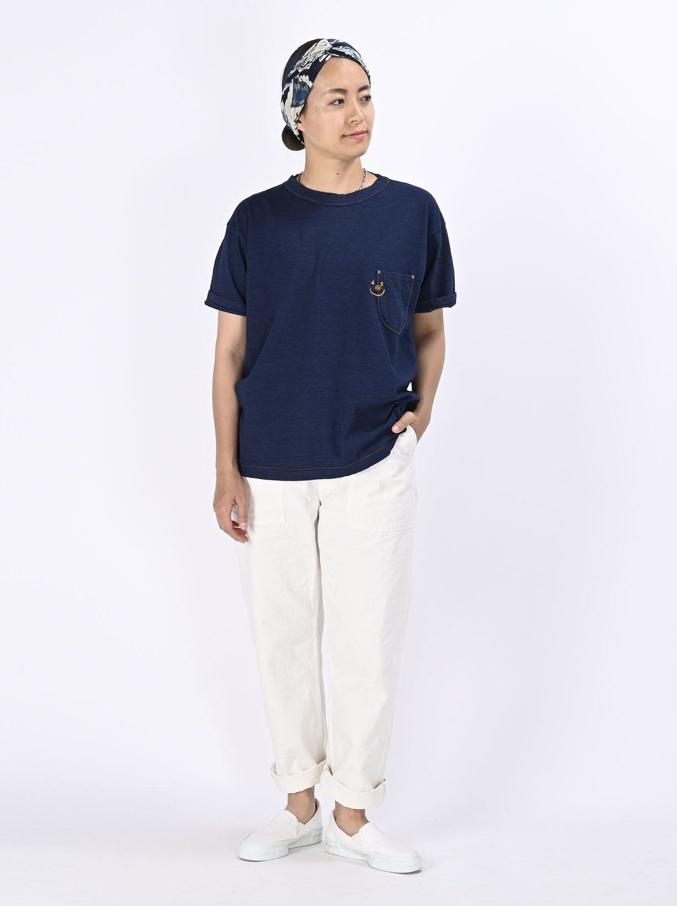 Indigo Smile R Embroidery 908 Ocean T-shirt (0621)-2