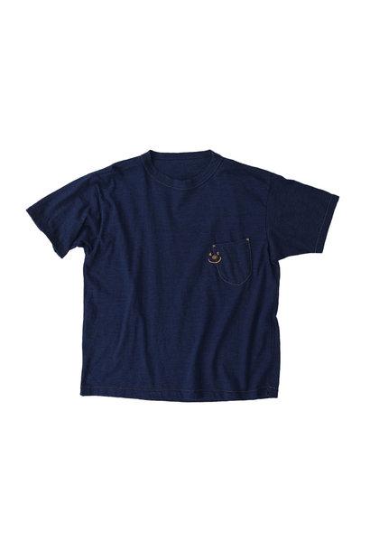 Indigo Smile R Embroidery 908 Ocean T-shirt (0621)