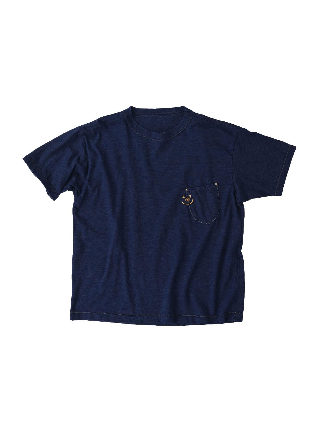 Indigo Smile R Embroidery 908 Ocean T-shirt (0621)-1