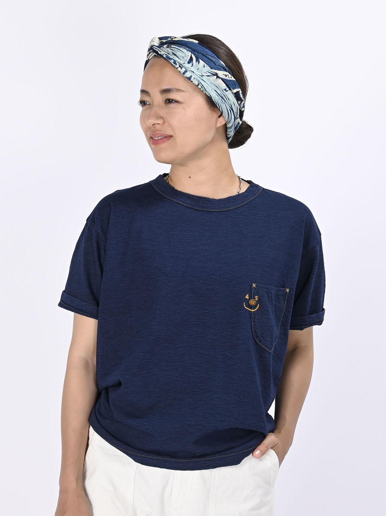 Indigo Smile R Embroidery 908 Ocean T-shirt (0621)-3