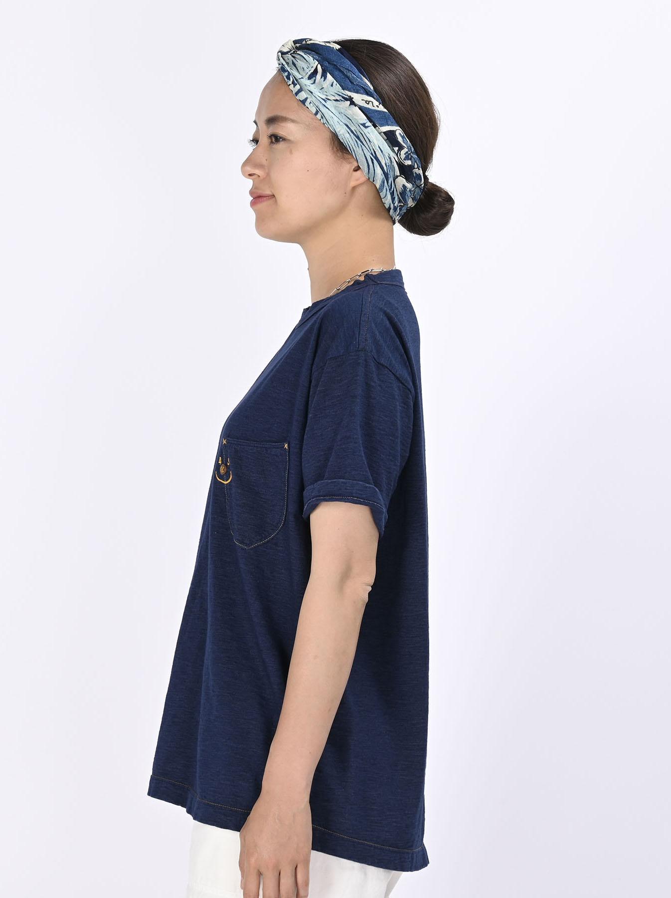 Indigo Smile R Embroidery 908 Ocean T-shirt (0621)-4