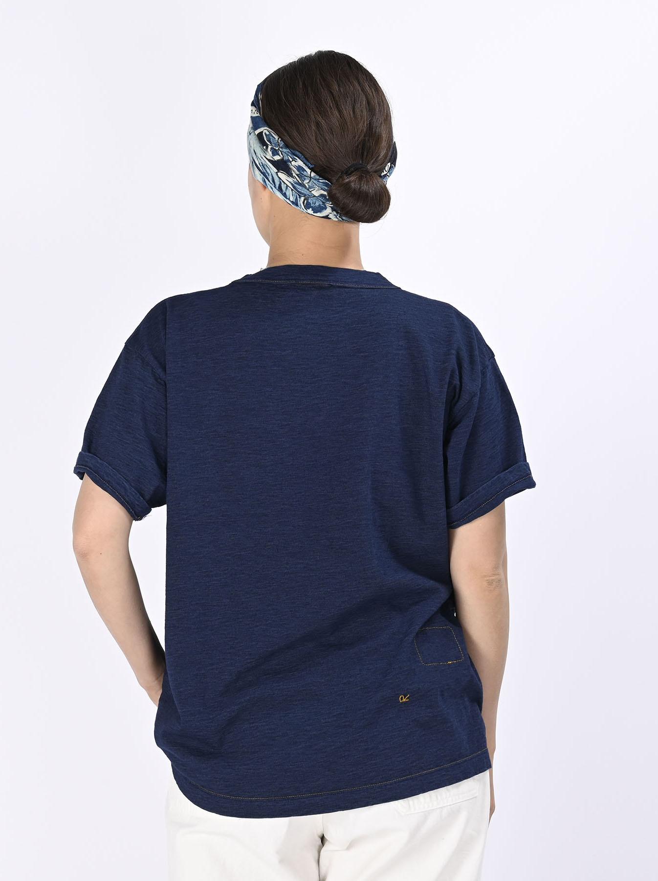 Indigo Smile R Embroidery 908 Ocean T-shirt (0621)-5