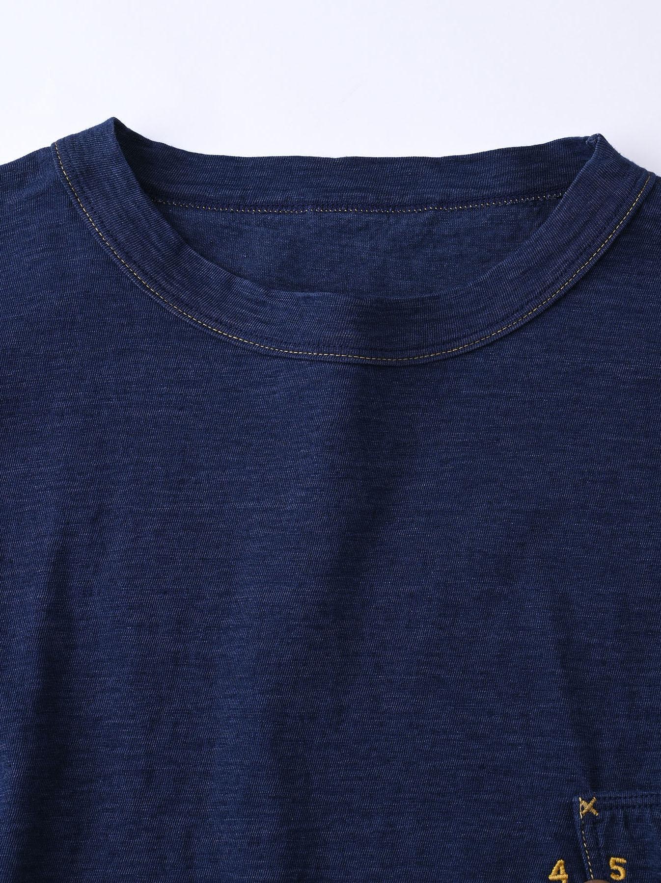 Indigo Smile R Embroidery 908 Ocean T-shirt (0621)-8
