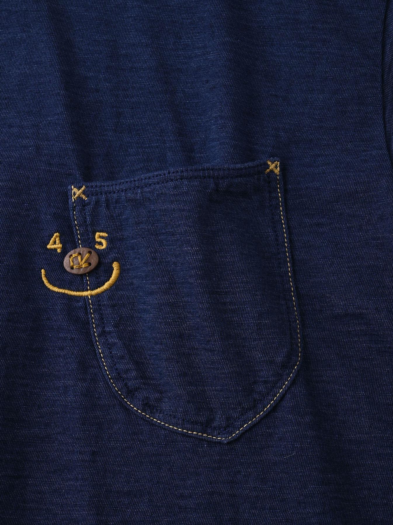 Indigo Smile R Embroidery 908 Ocean T-shirt (0621)-7