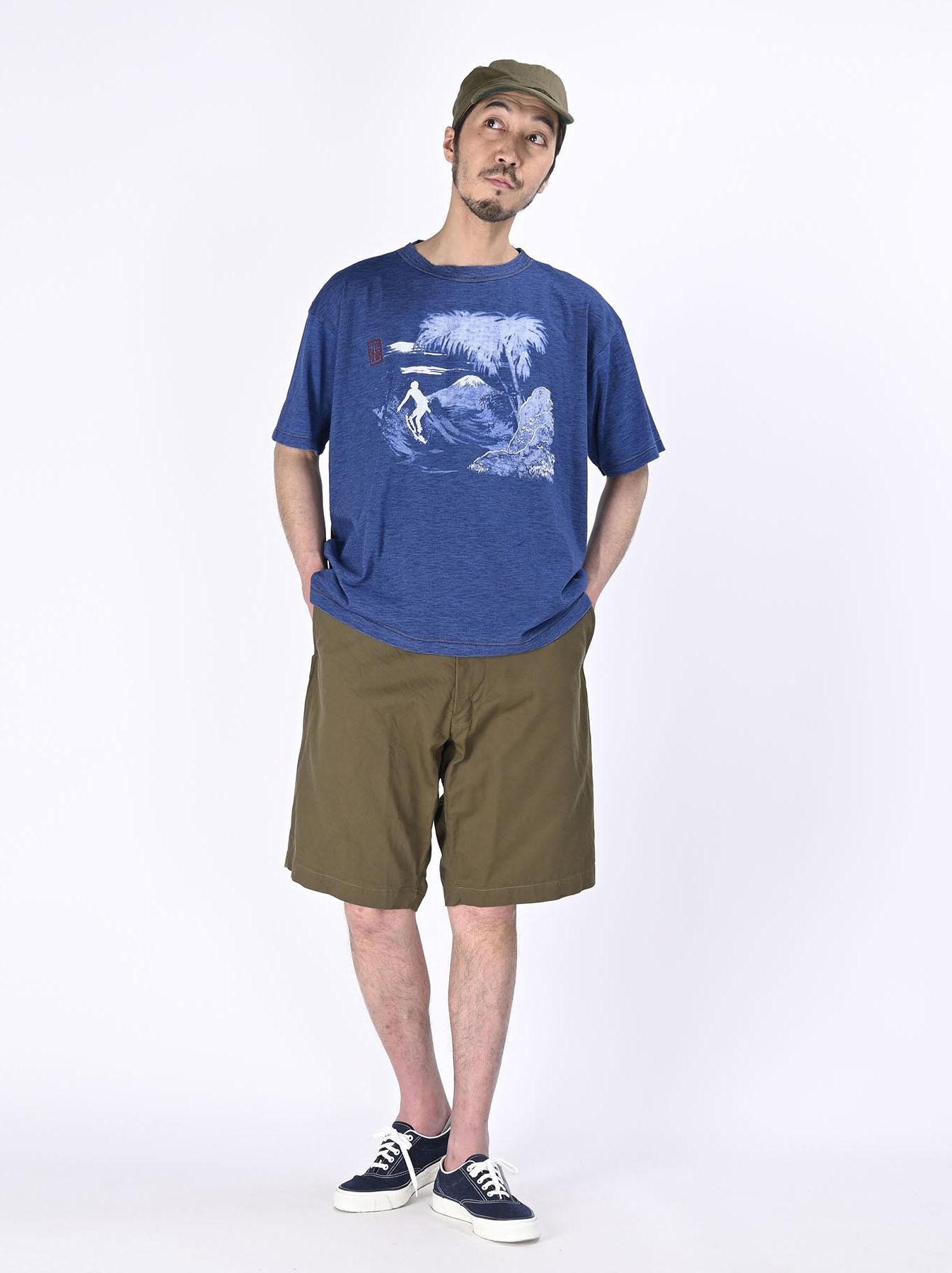 Distressed Indigo Ukiyo de Surf 908 Ocean T-shirt (0621)-2