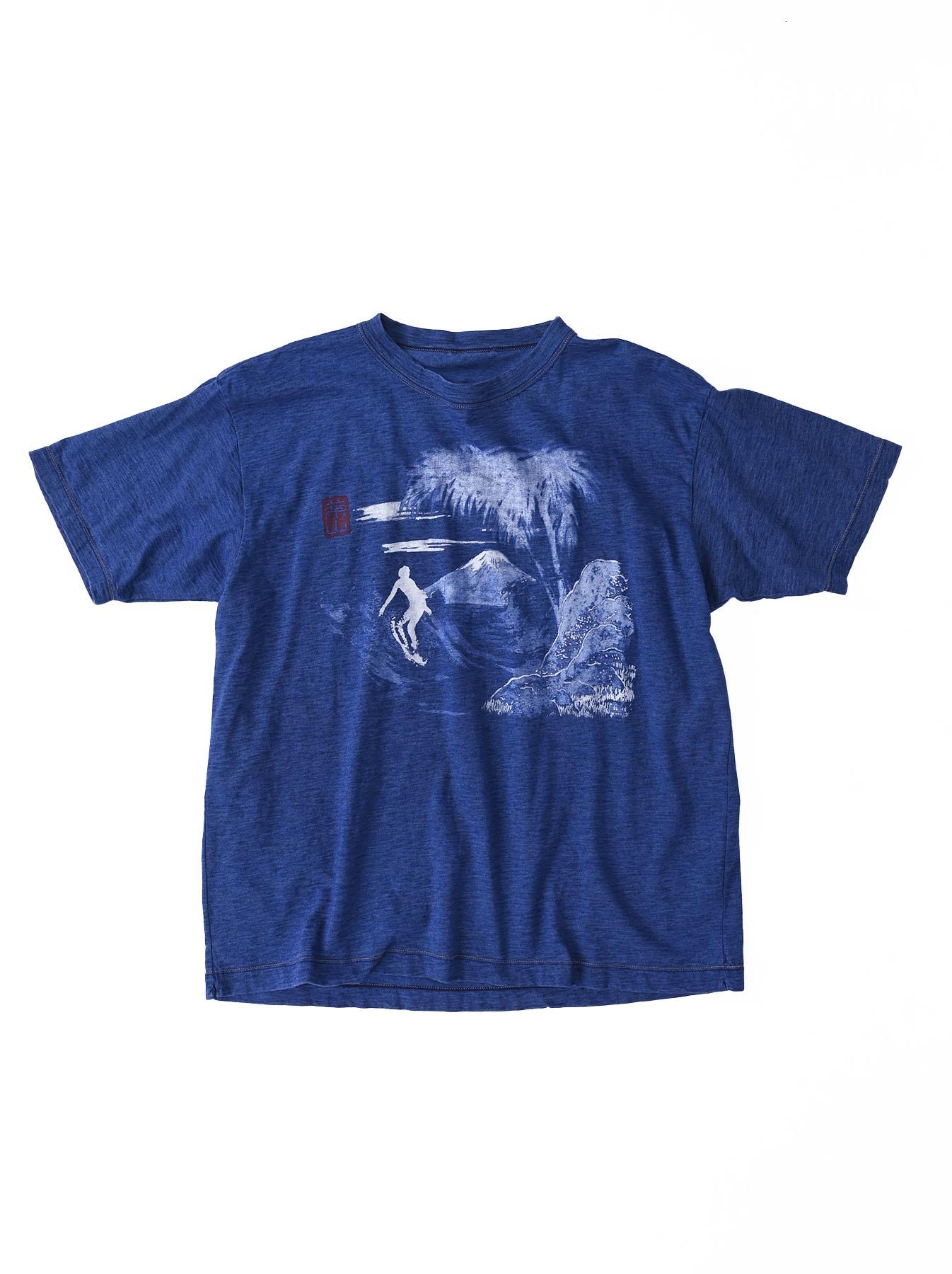Distressed Indigo Ukiyo de Surf 908 Ocean T-shirt (0621)-1
