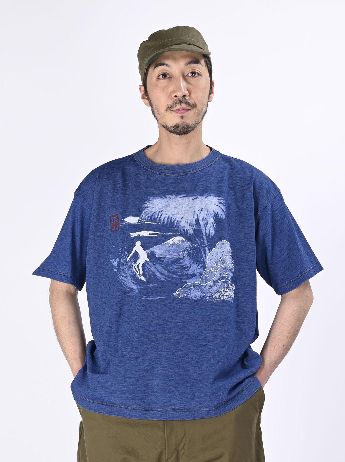 Distressed Indigo Ukiyo de Surf 908 Ocean T-shirt (0621)-3
