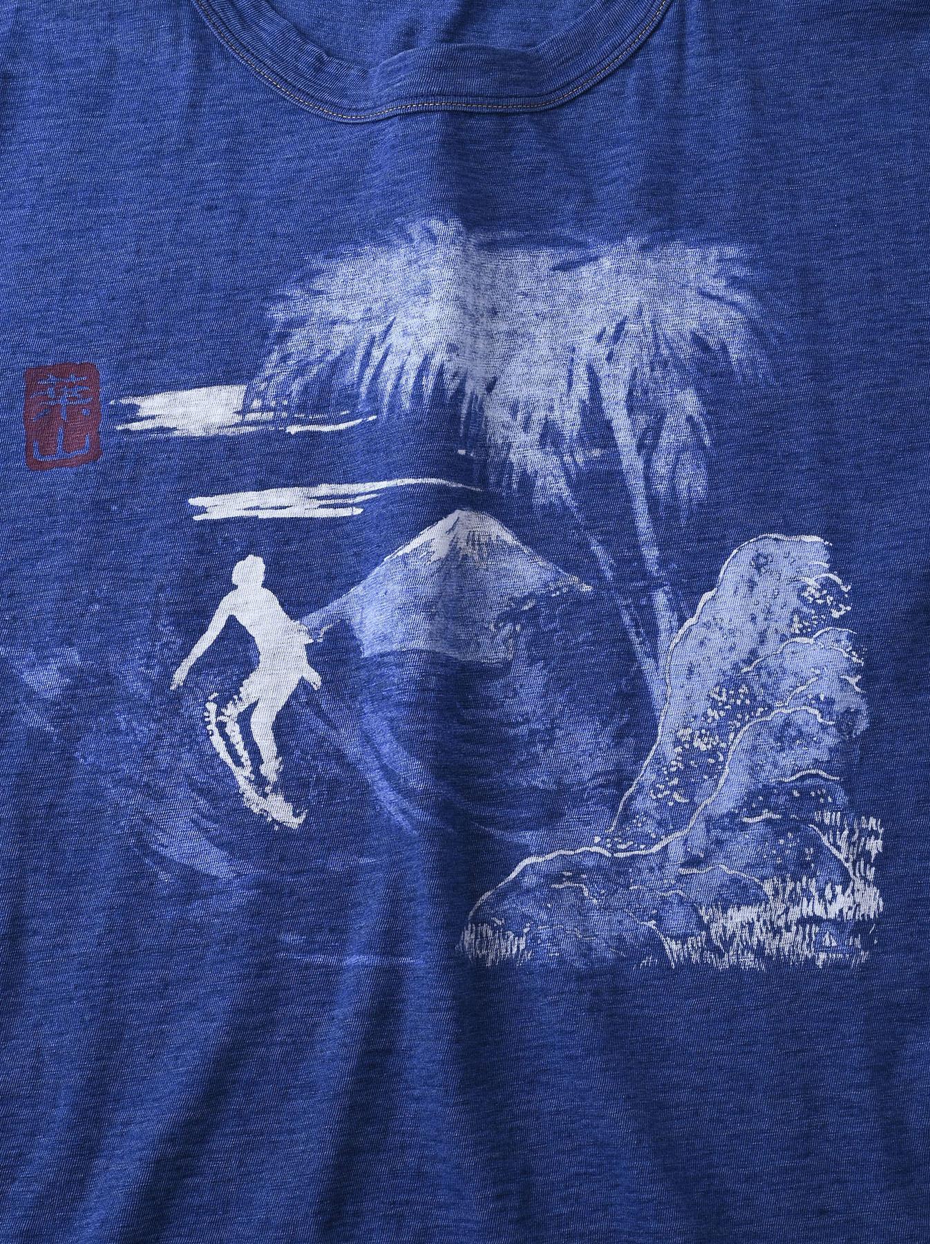 Distressed Indigo Ukiyo de Surf 908 Ocean T-shirt (0621)-9