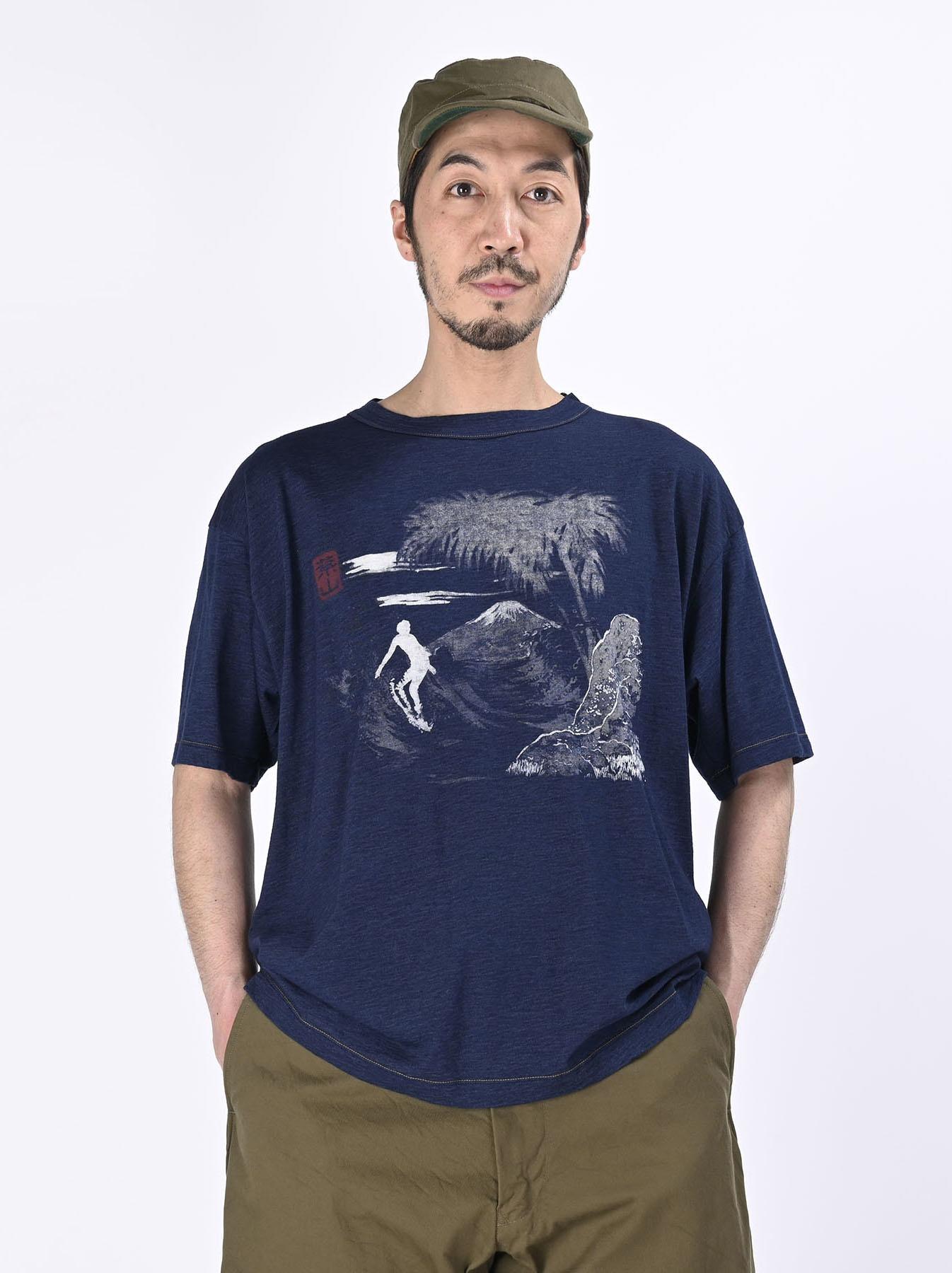 Indigo Ukiyo de Surf 908 Ocean T-shirt (0621)-2