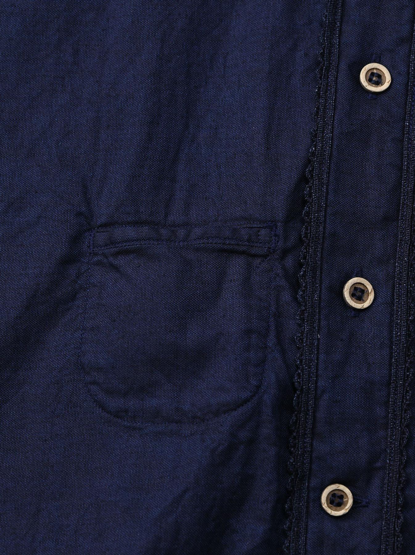 Indigo Thin Oxford 908 Ocean Lace Shirt (0621)-7
