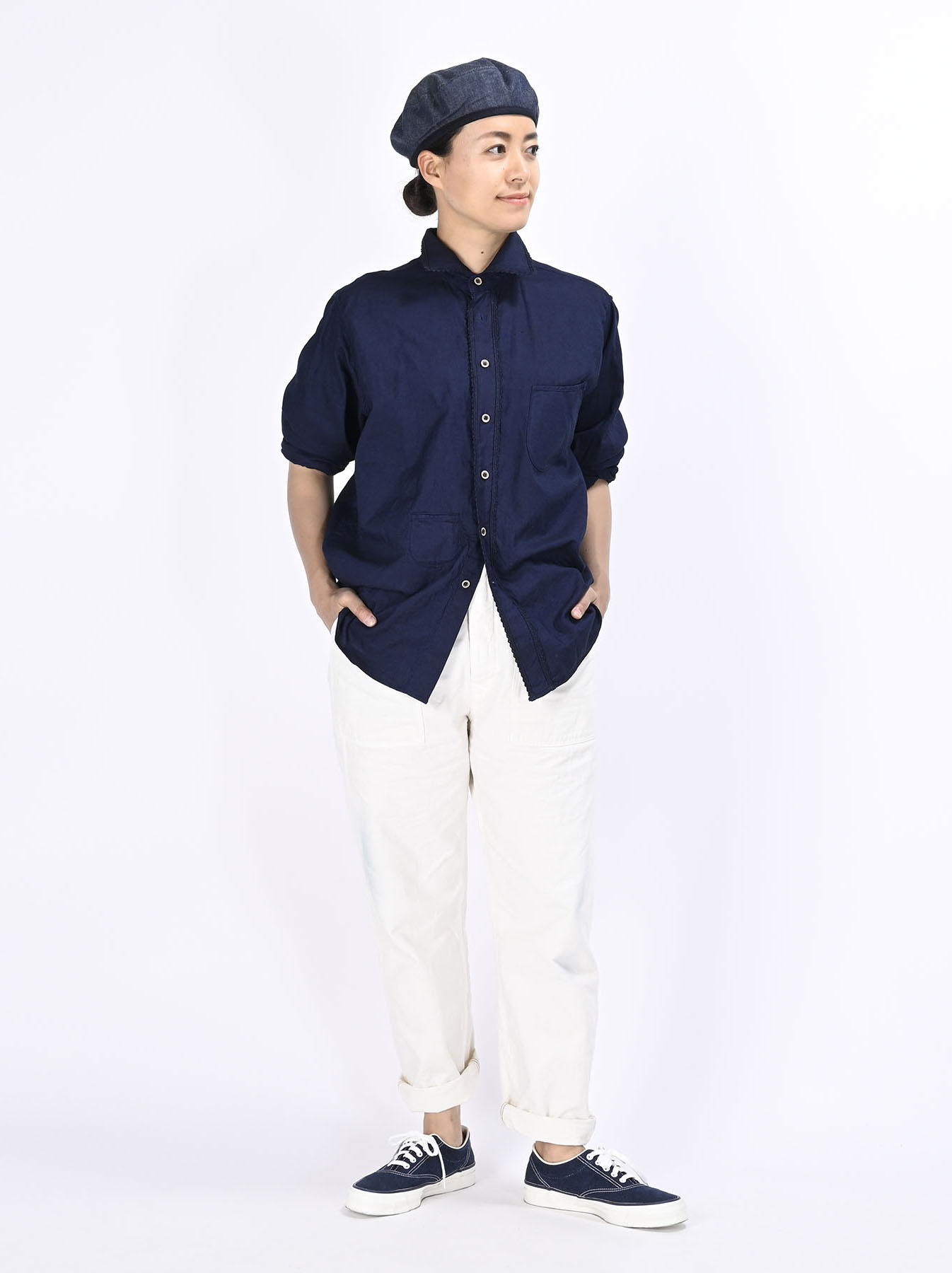 Indigo Thin Oxford 908 Ocean Lace Shirt (0621)-2
