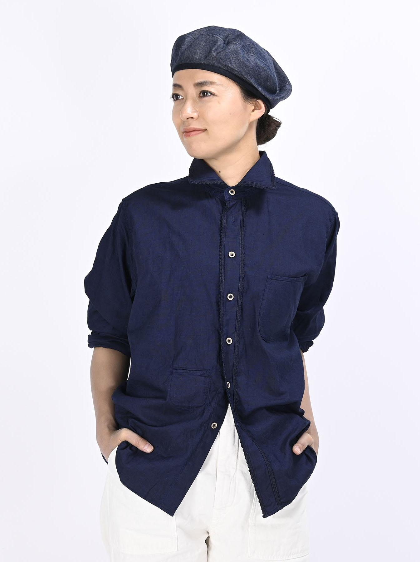 Indigo Thin Oxford 908 Ocean Lace Shirt (0621)-3
