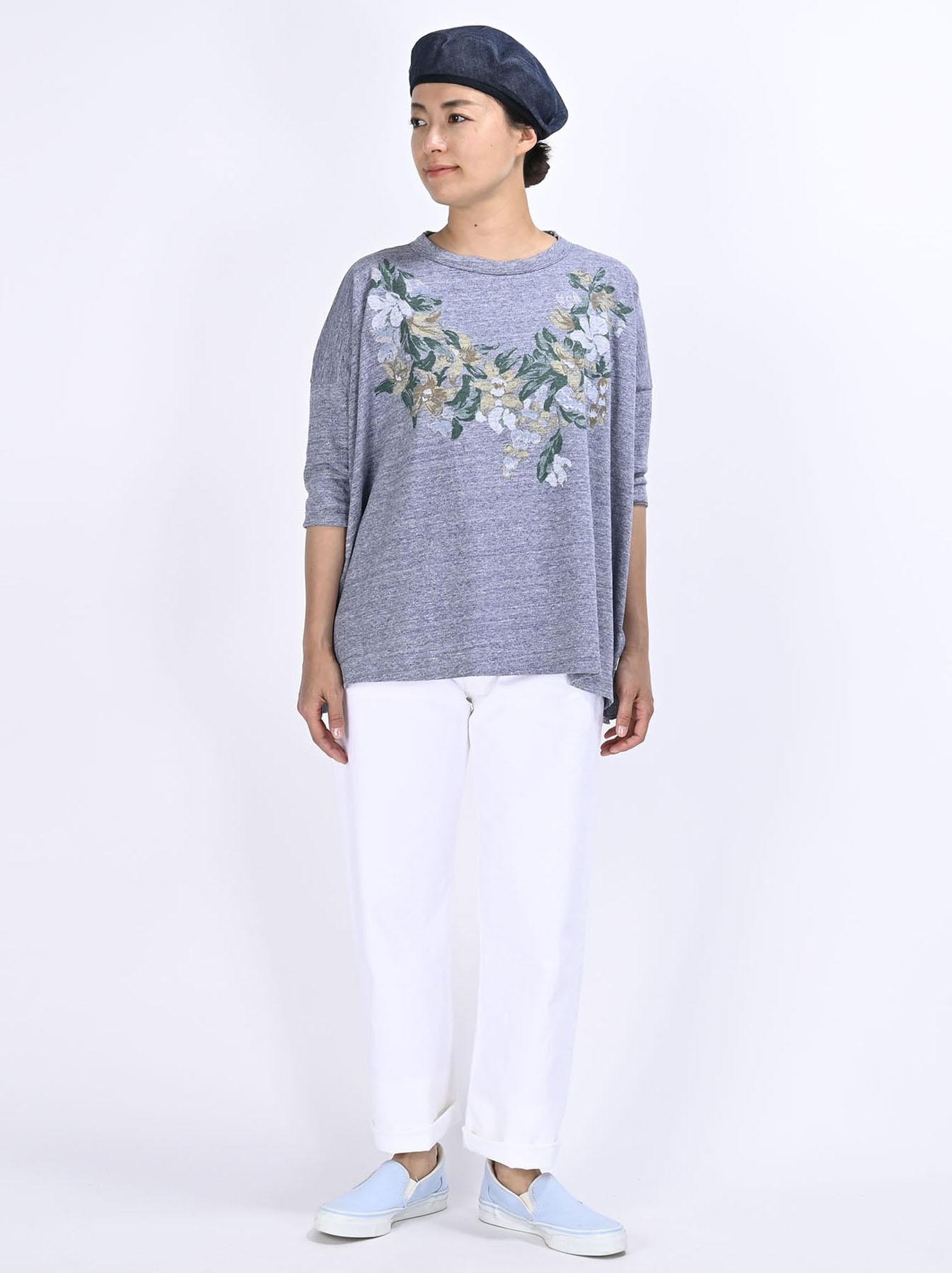 Lei Lei Print Big Slit T-shirt (0621)-2