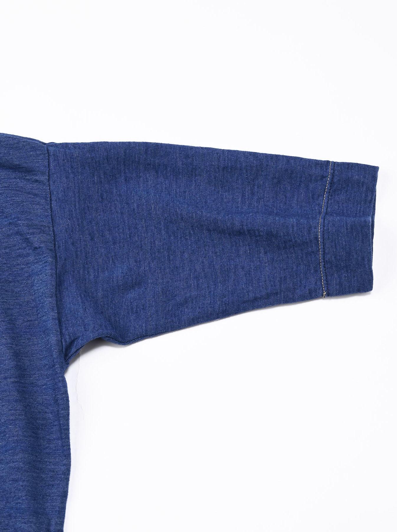 Distressed Indigo Lei Lei Print Big Slit T-shirt (0621)-10