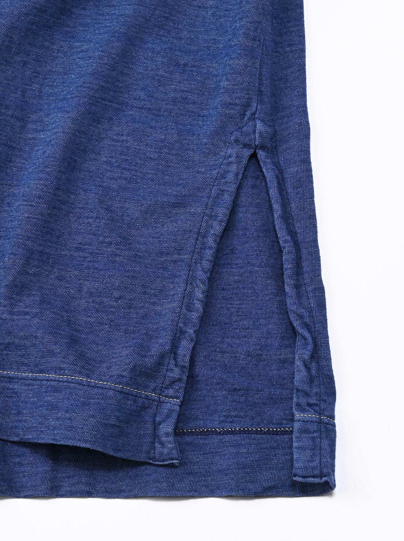 Distressed Indigo Lei Lei Print Big Slit T-shirt (0621)-11