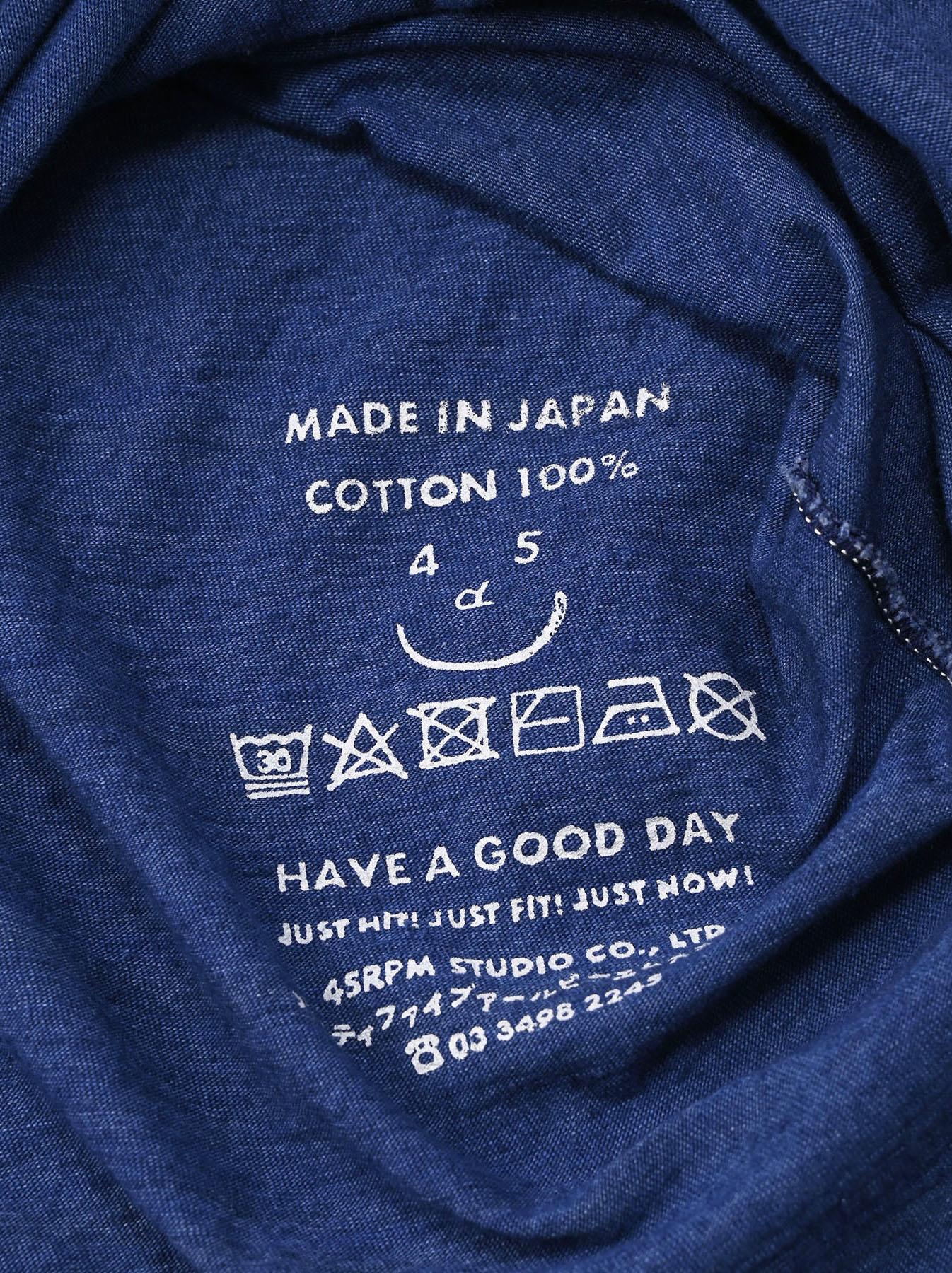 Distressed Indigo Lei Lei Print Big Slit T-shirt (0621)-12
