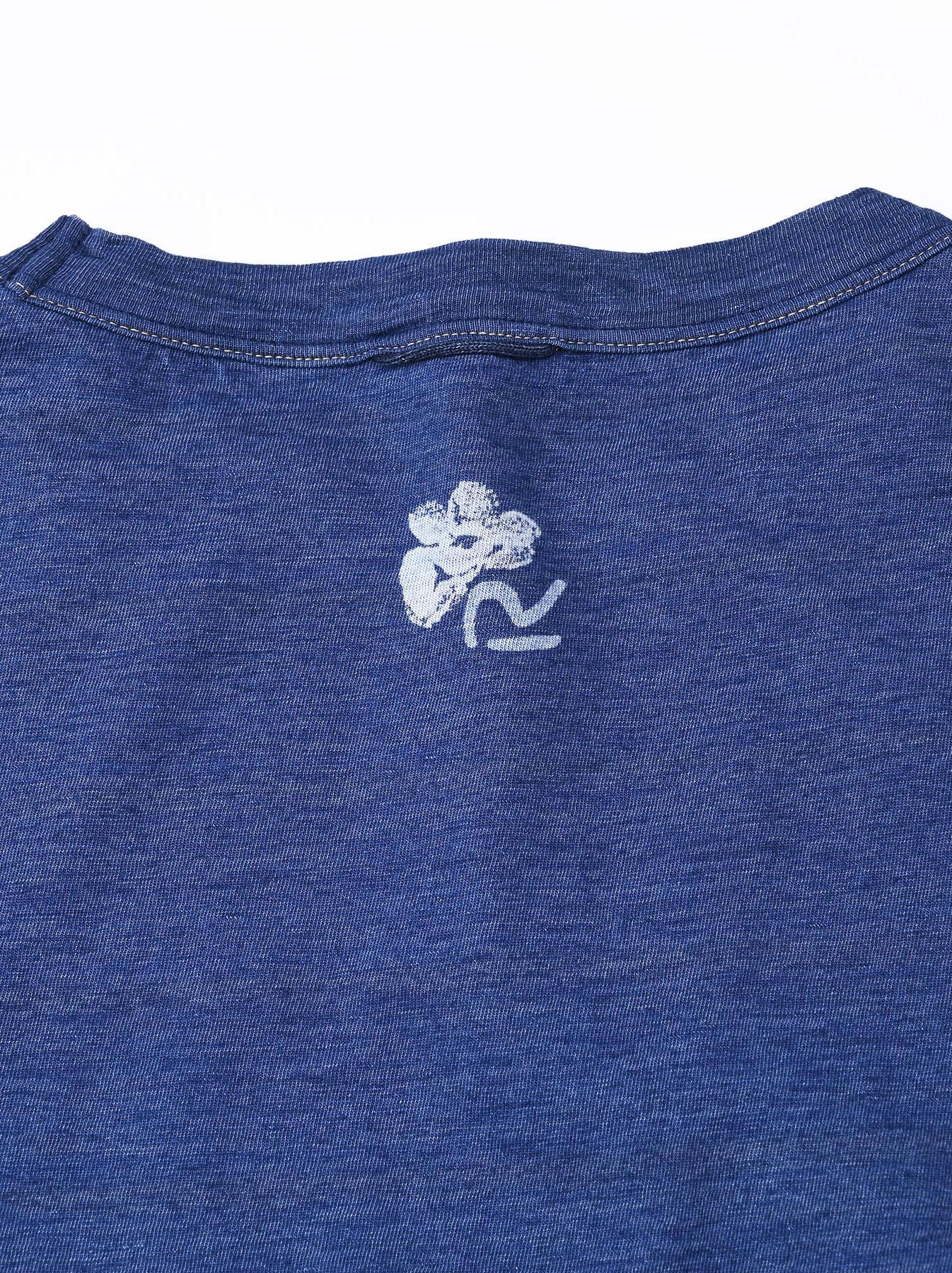 Distressed Indigo Lei Lei Print Big Slit T-shirt (0621)-9