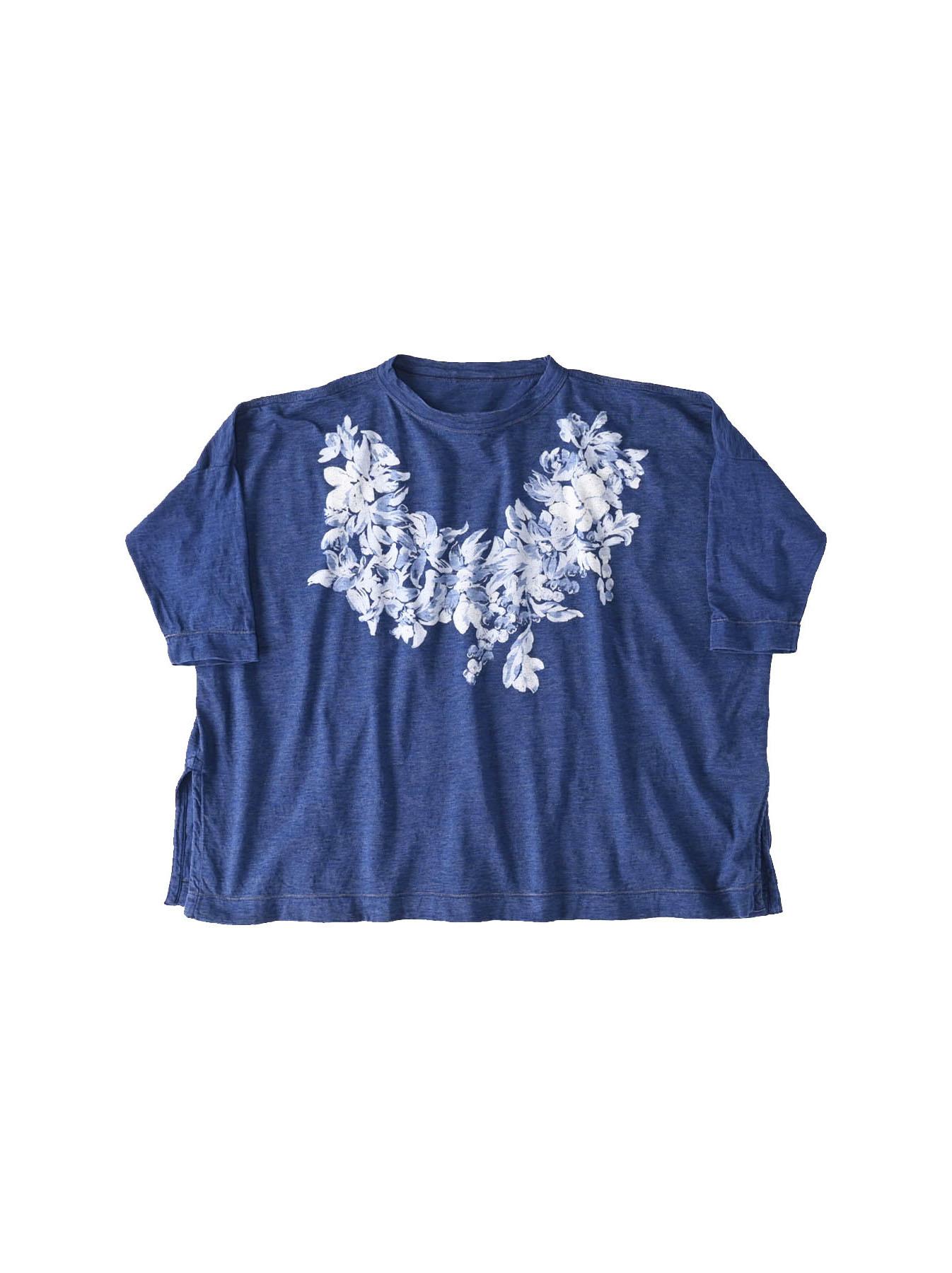 Distressed Indigo Lei Lei Print Big Slit T-shirt (0621)-1