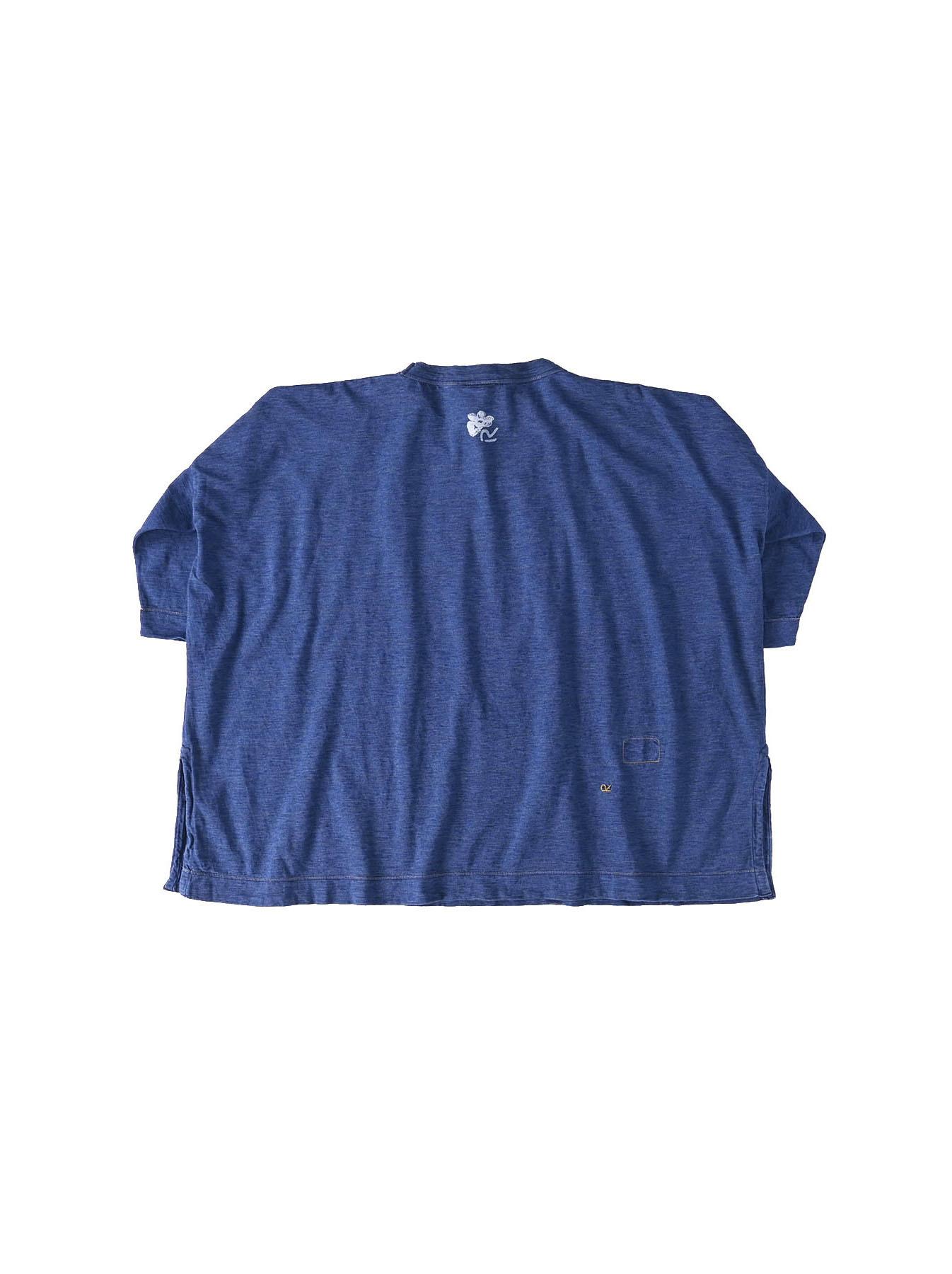Distressed Indigo Lei Lei Print Big Slit T-shirt (0621)-6