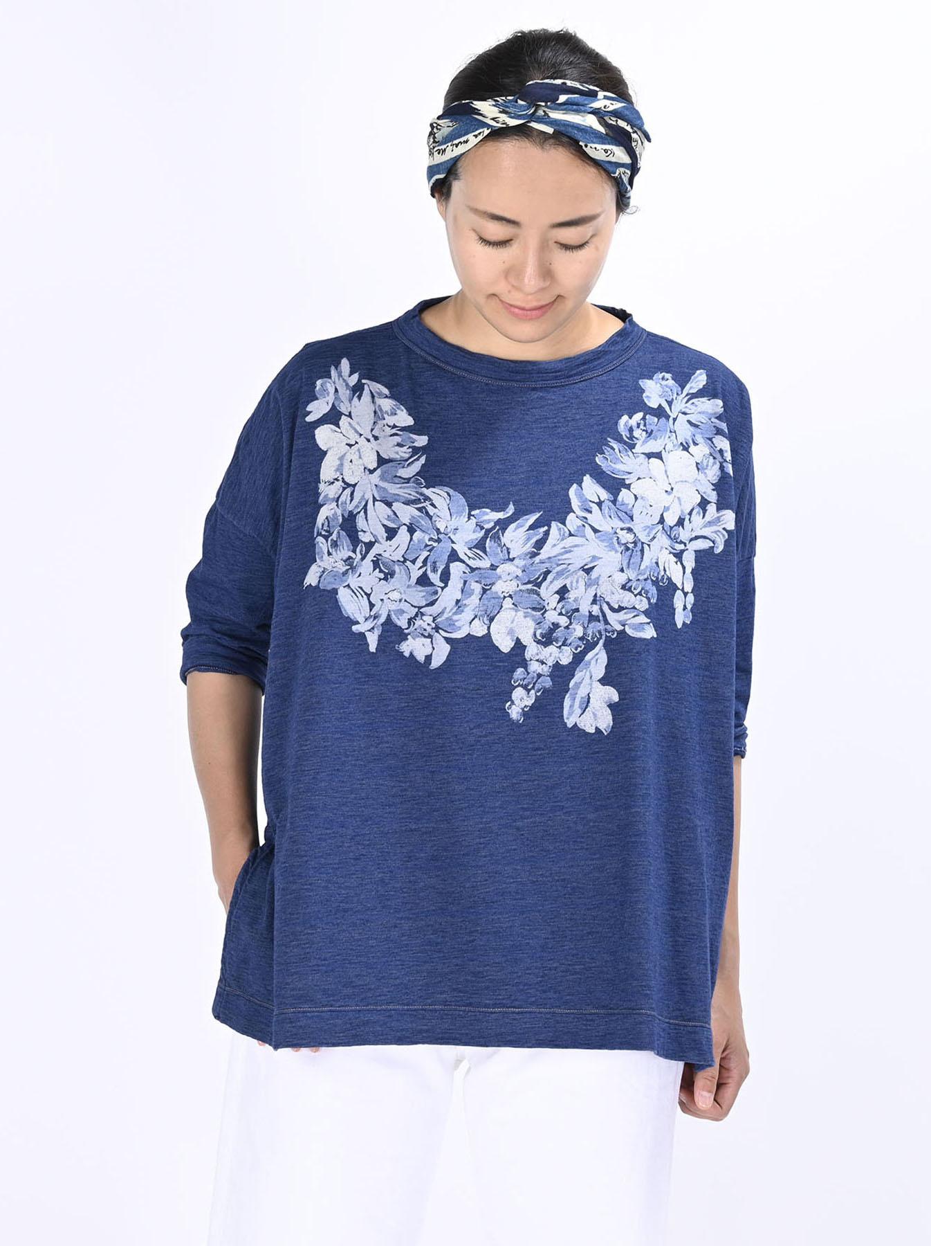 Distressed Indigo Lei Lei Print Big Slit T-shirt (0621)-3