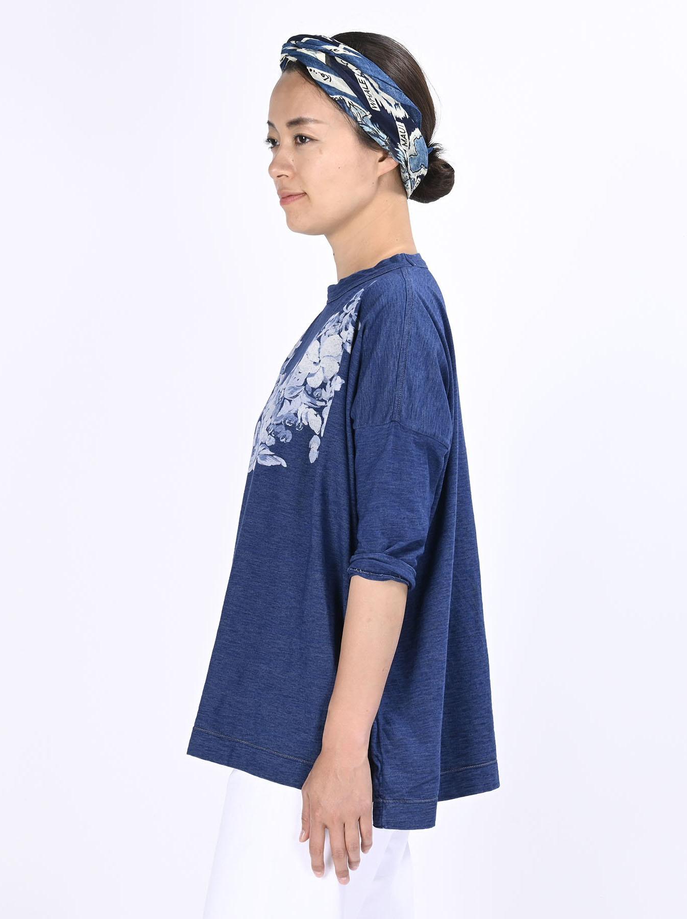 Distressed Indigo Lei Lei Print Big Slit T-shirt (0621)-4