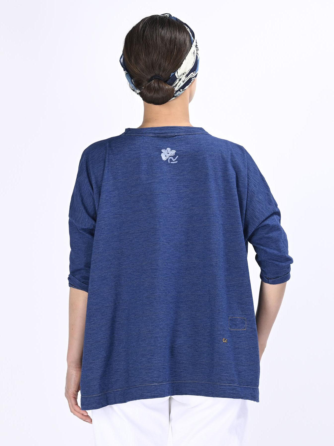 Distressed Indigo Lei Lei Print Big Slit T-shirt (0621)-5