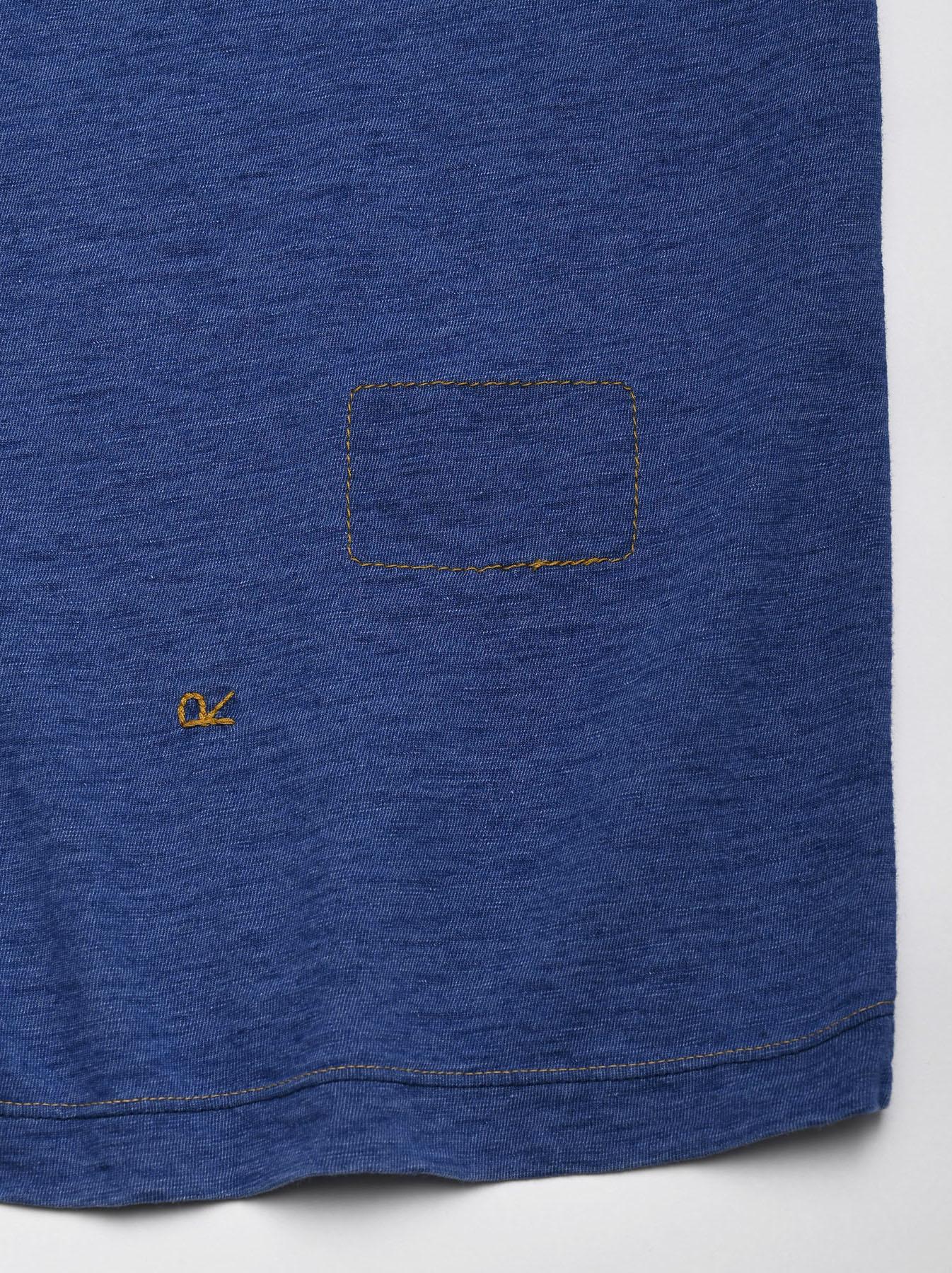 Distressed Indigo Tenjiku 908 Ocean T-Shirt (0621)-11
