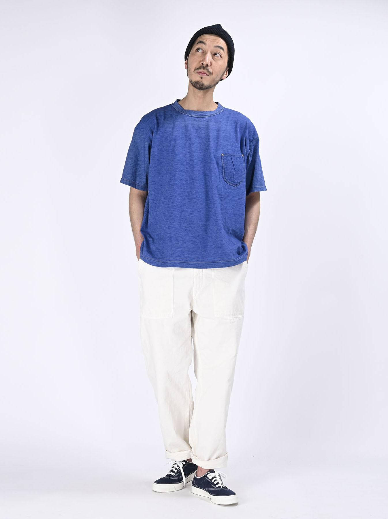 Distressed Indigo Tenjiku 908 Ocean T-Shirt (0621)-2