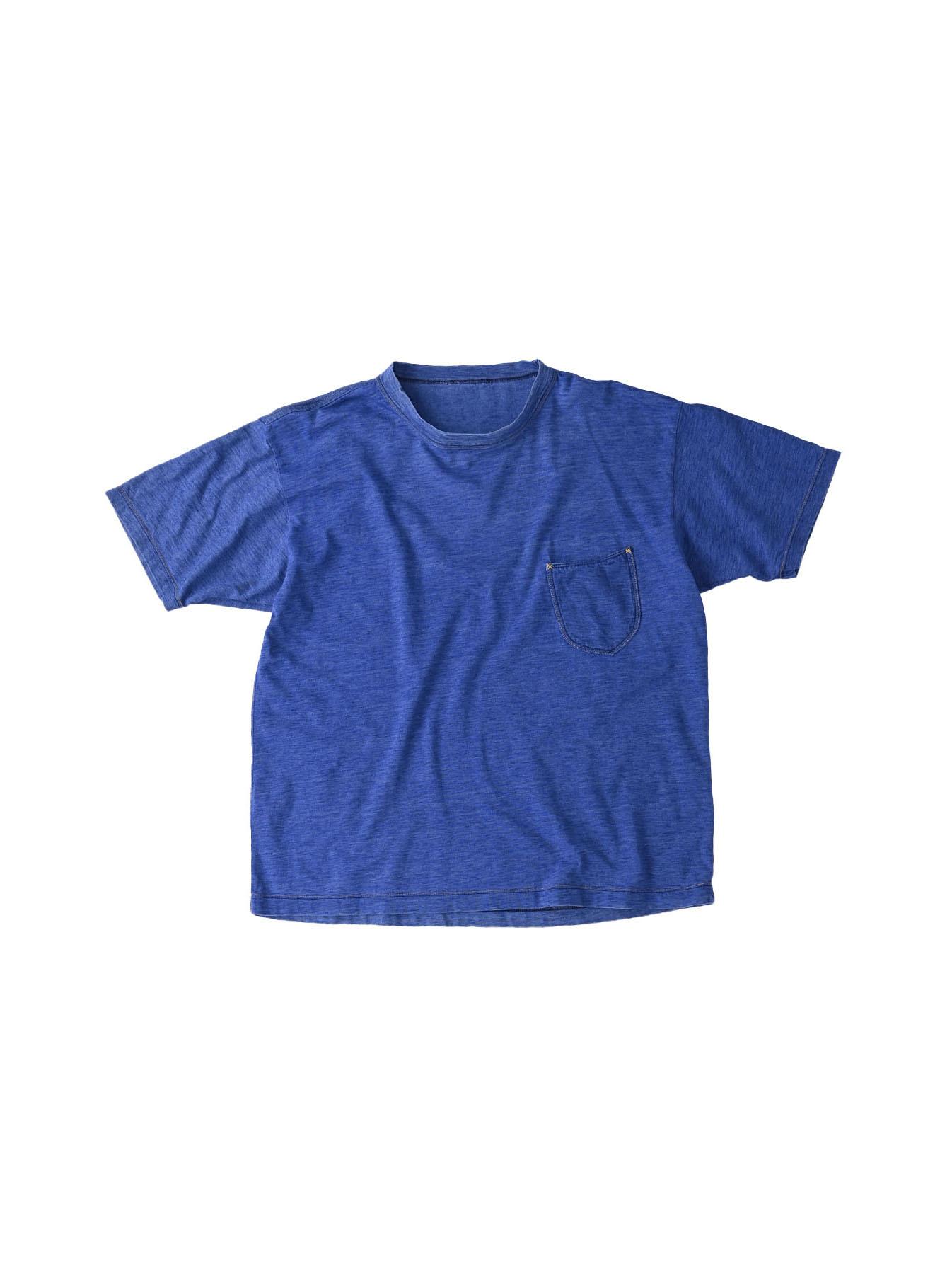 Distressed Indigo Tenjiku 908 Ocean T-Shirt (0621)-1