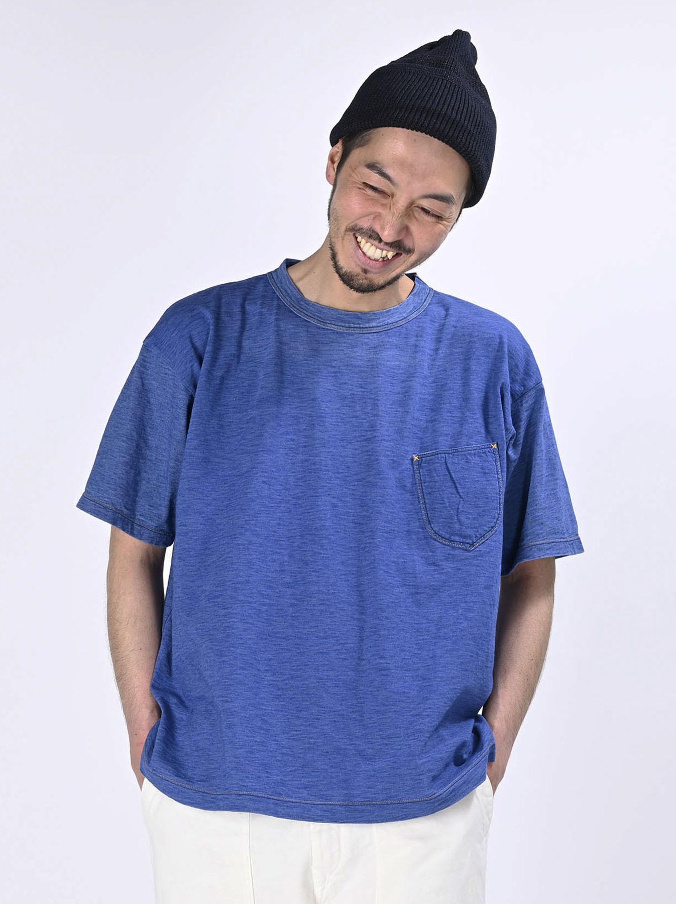 Distressed Indigo Tenjiku 908 Ocean T-Shirt (0621)-3