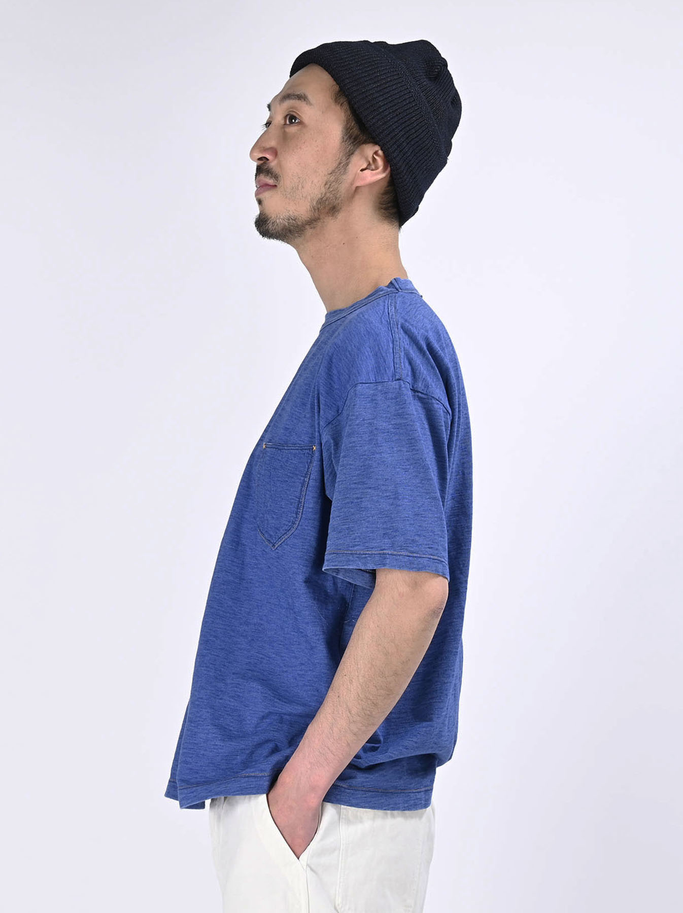 Distressed Indigo Tenjiku 908 Ocean T-Shirt (0621)-4
