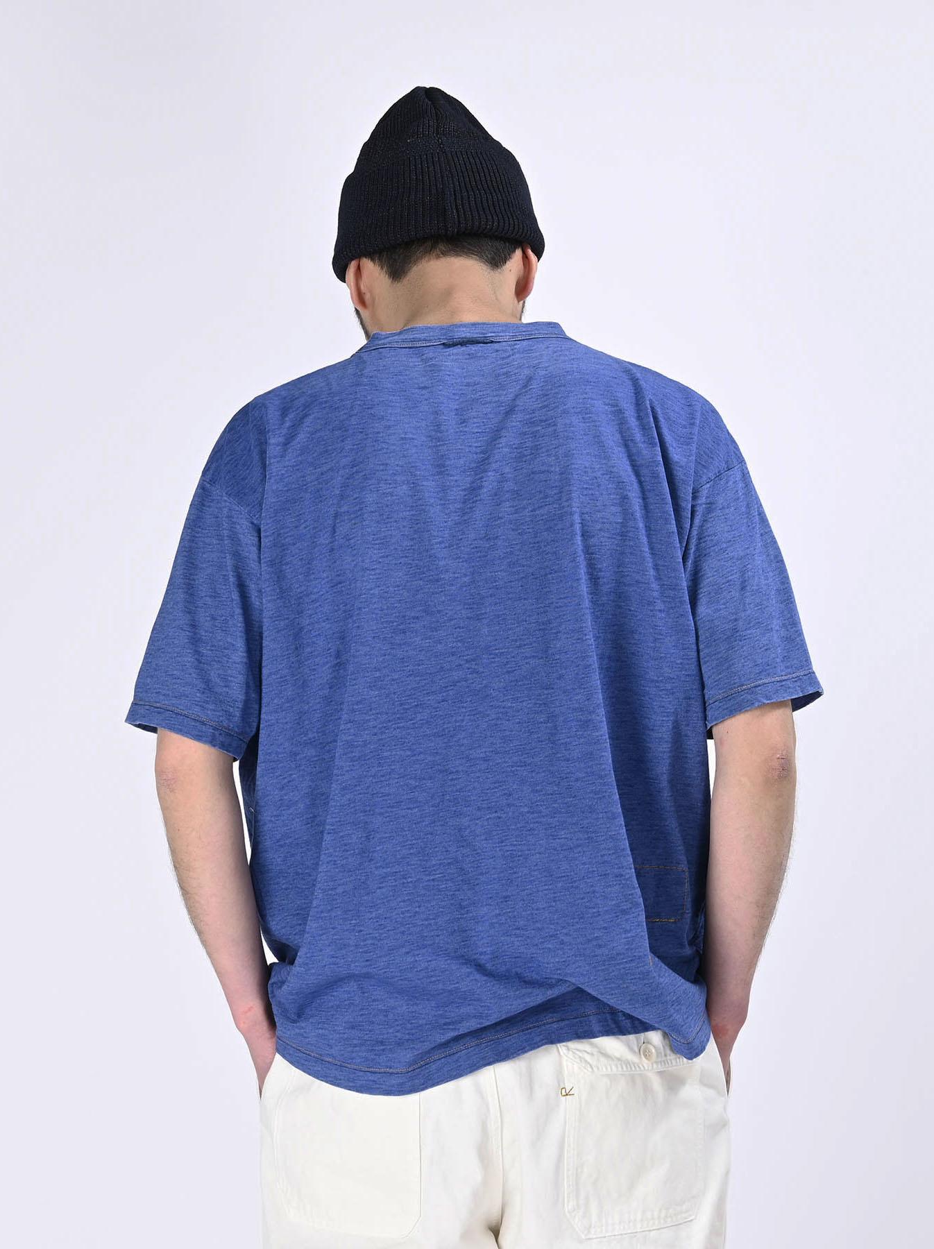 Distressed Indigo Tenjiku 908 Ocean T-Shirt (0621)-5