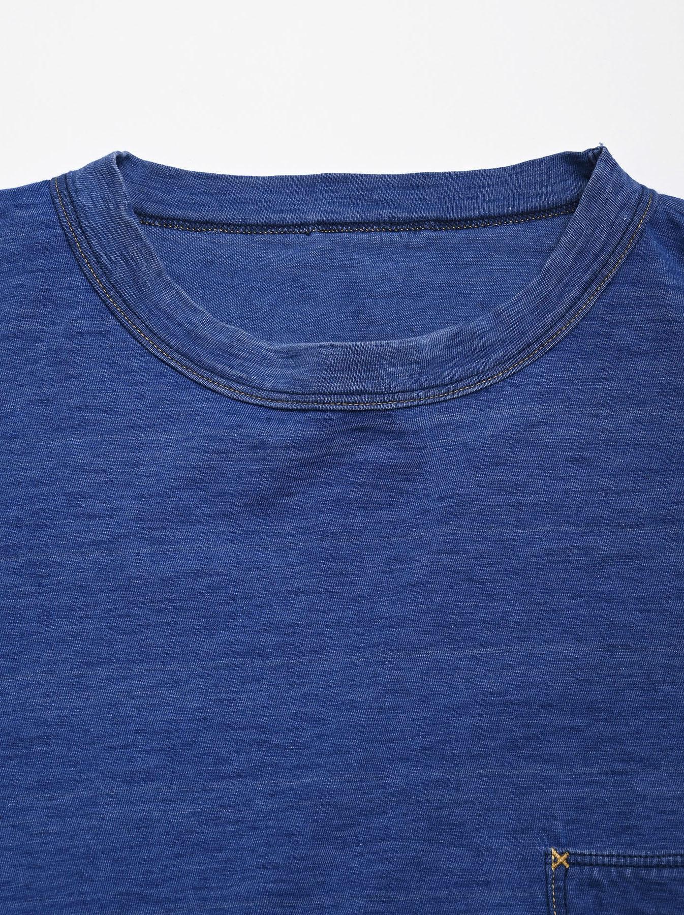 Distressed Indigo Tenjiku 908 Ocean T-Shirt (0621)-12
