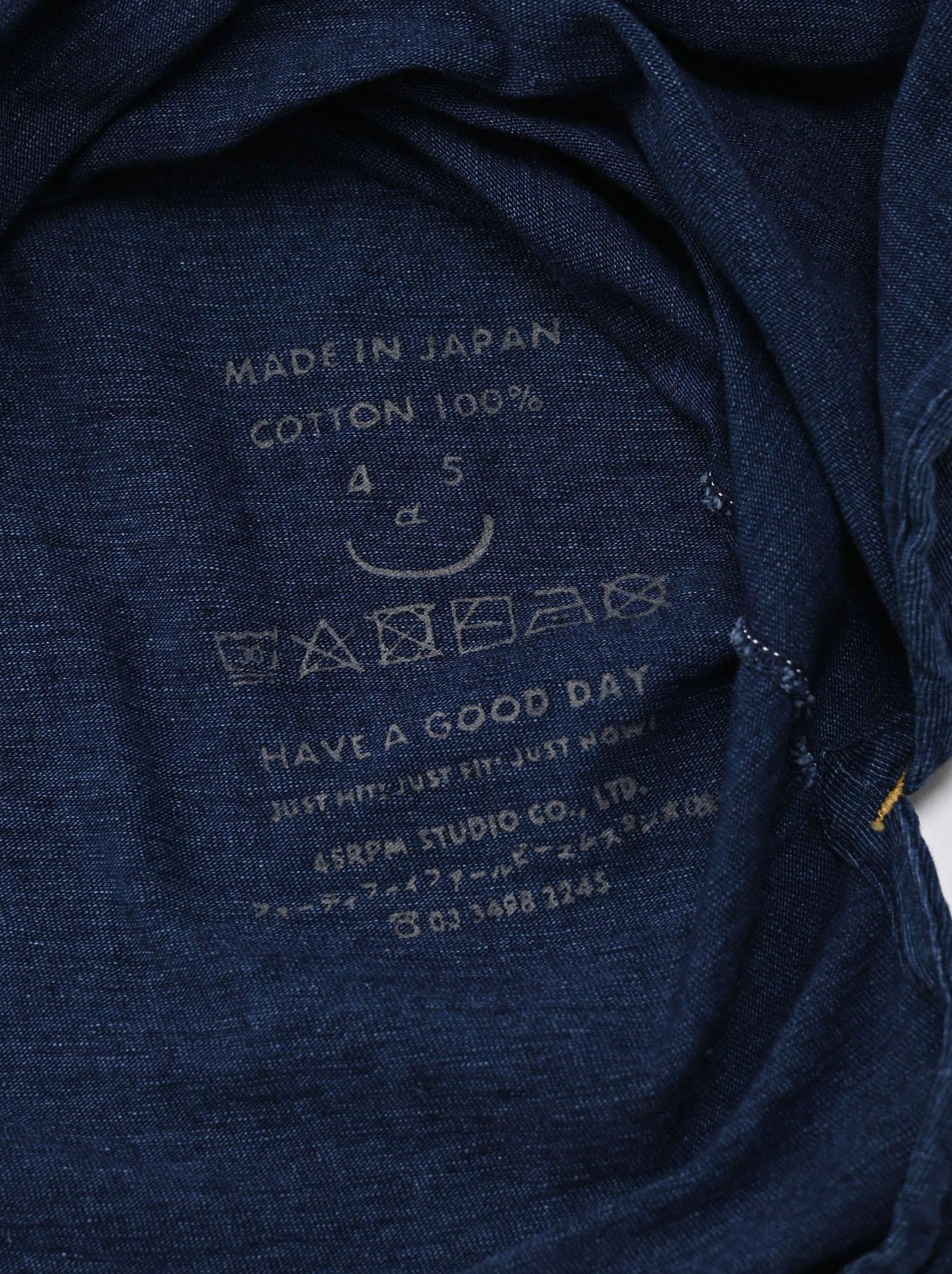 Indigo Zyu Zimbabwe Cotton Big Slit T-shirt (0721)-11