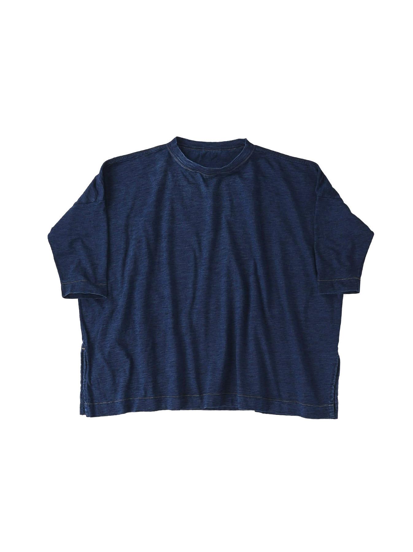 Indigo Zyu Zimbabwe Cotton Big Slit T-shirt (0721)-1