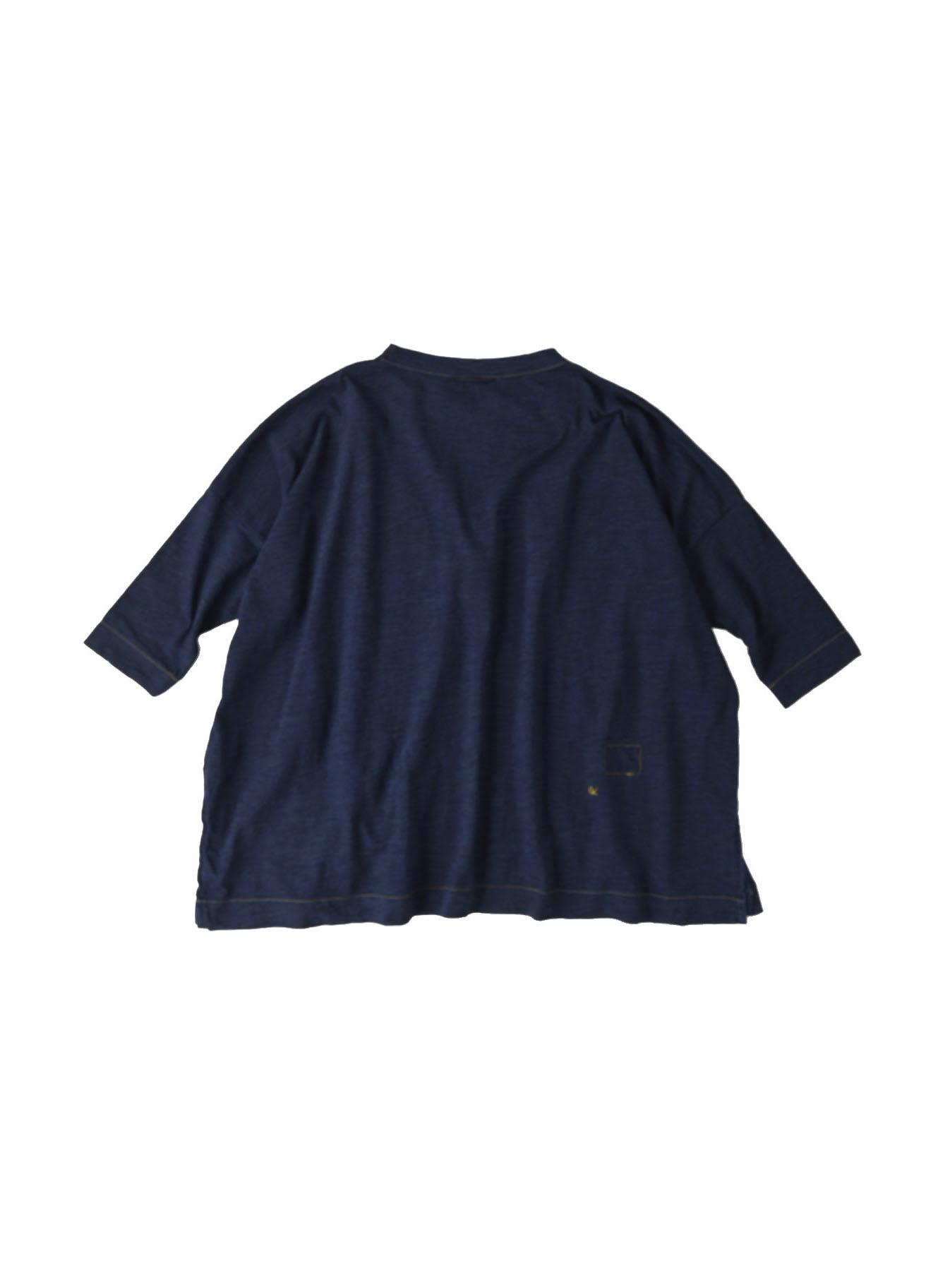 Indigo Nou Zimbabwe Cotton Big Slit T-shirt (0721)-1
