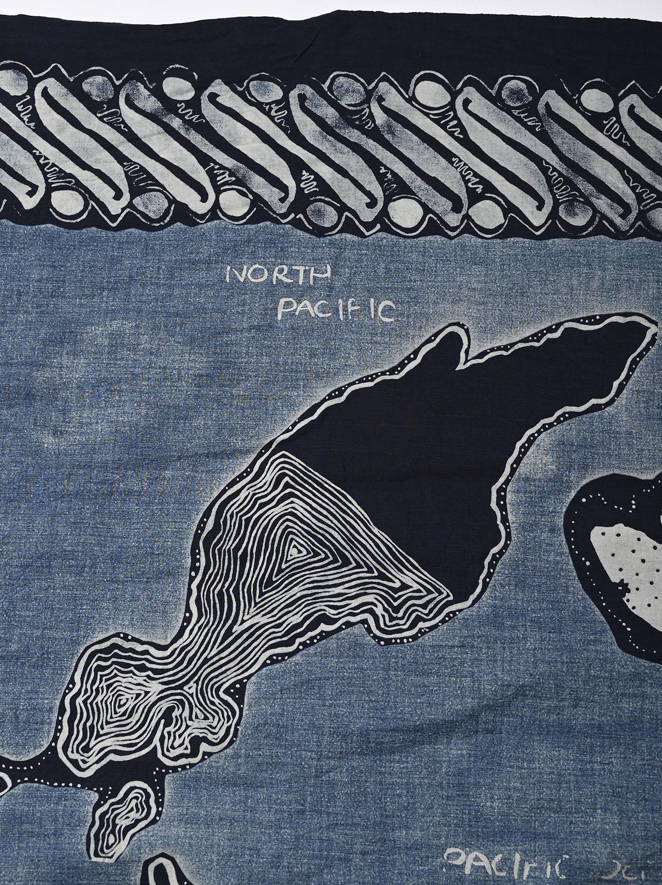 Indigo Tappet Map Sarong Stole (0721)-8